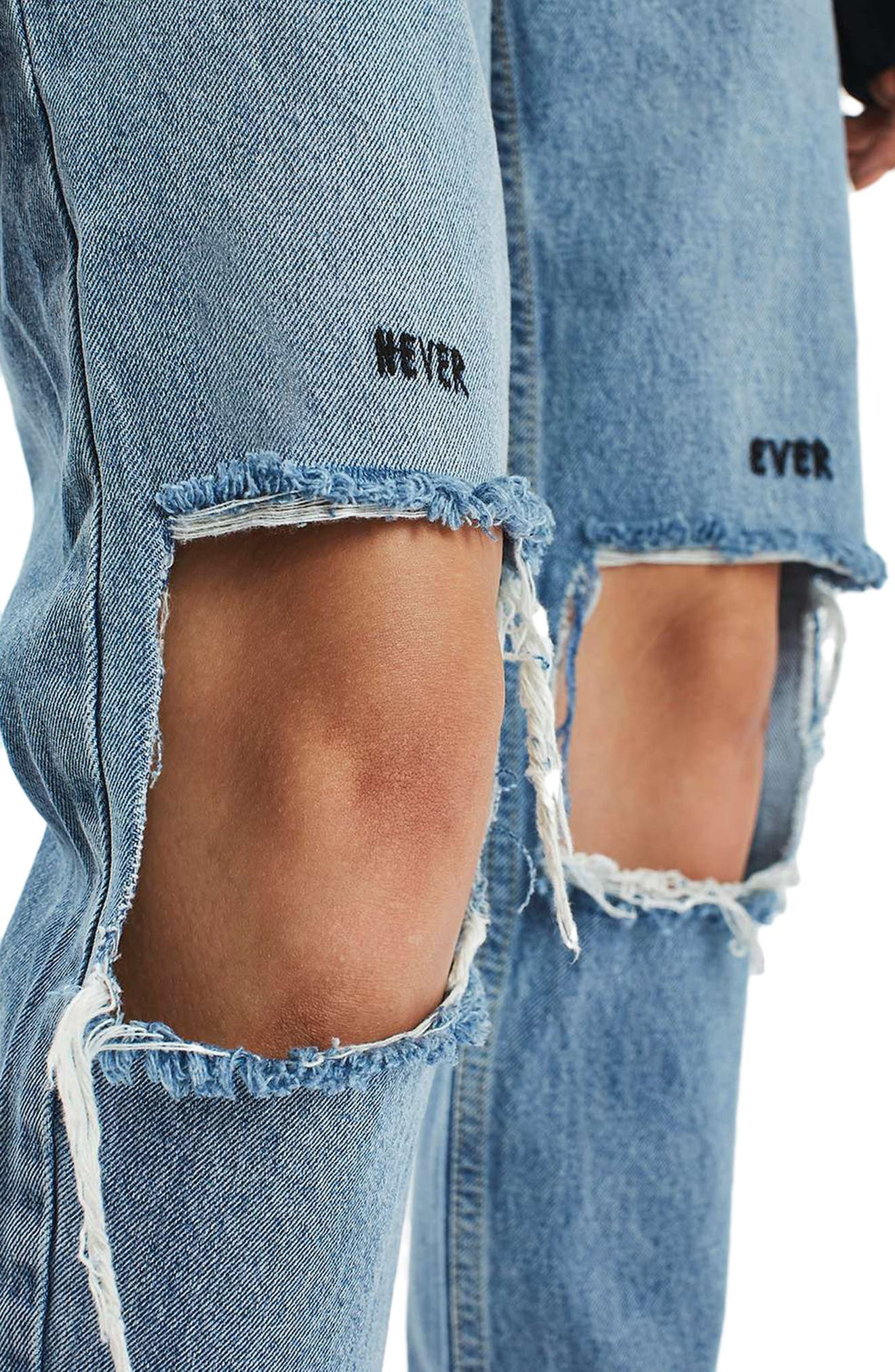 Alternate Image 5  - Topshop Embroidered Slogan Ripped Jeans