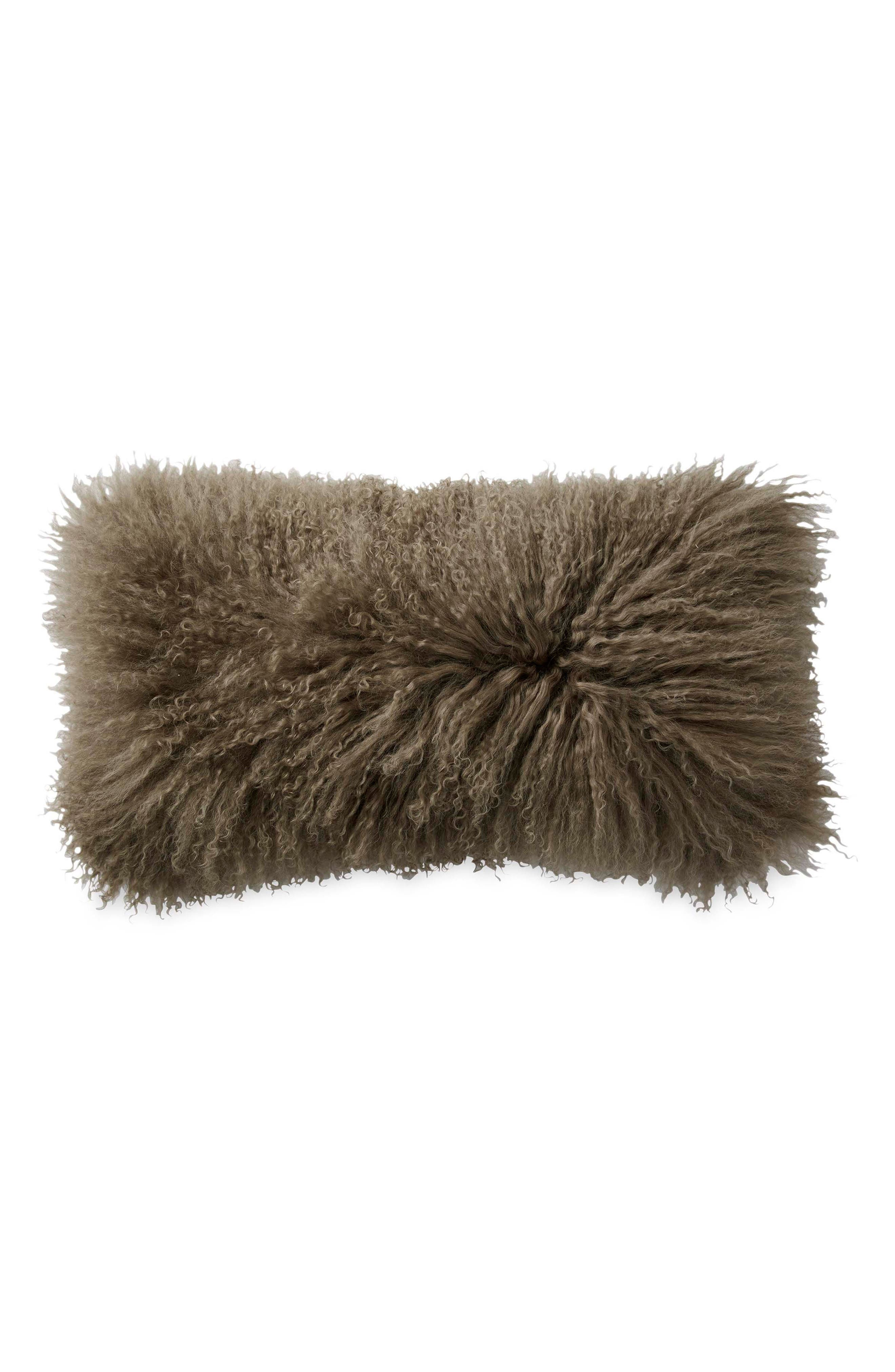 Exhale Flokati Genuine Sheepskin Pillow,                         Main,                         color, Taupe
