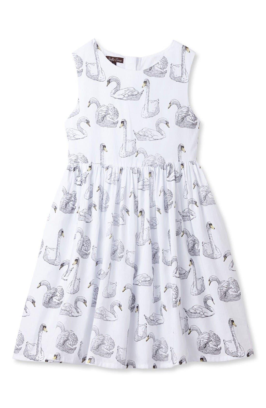 Swan Print Dress,                         Main,                         color, White