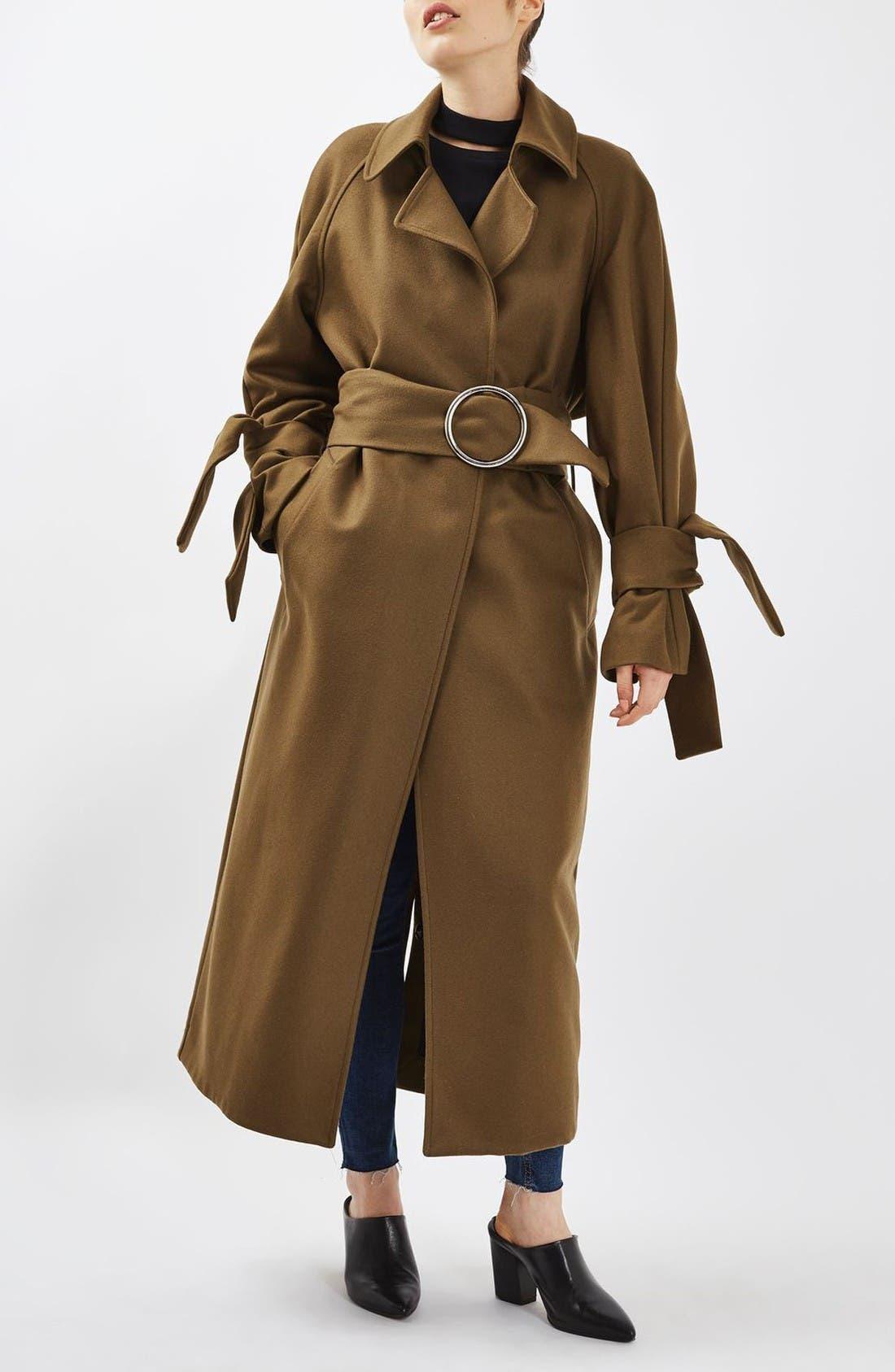 Alternate Image 2  - Topshop Boutique Tie Sleeve Wool Coat