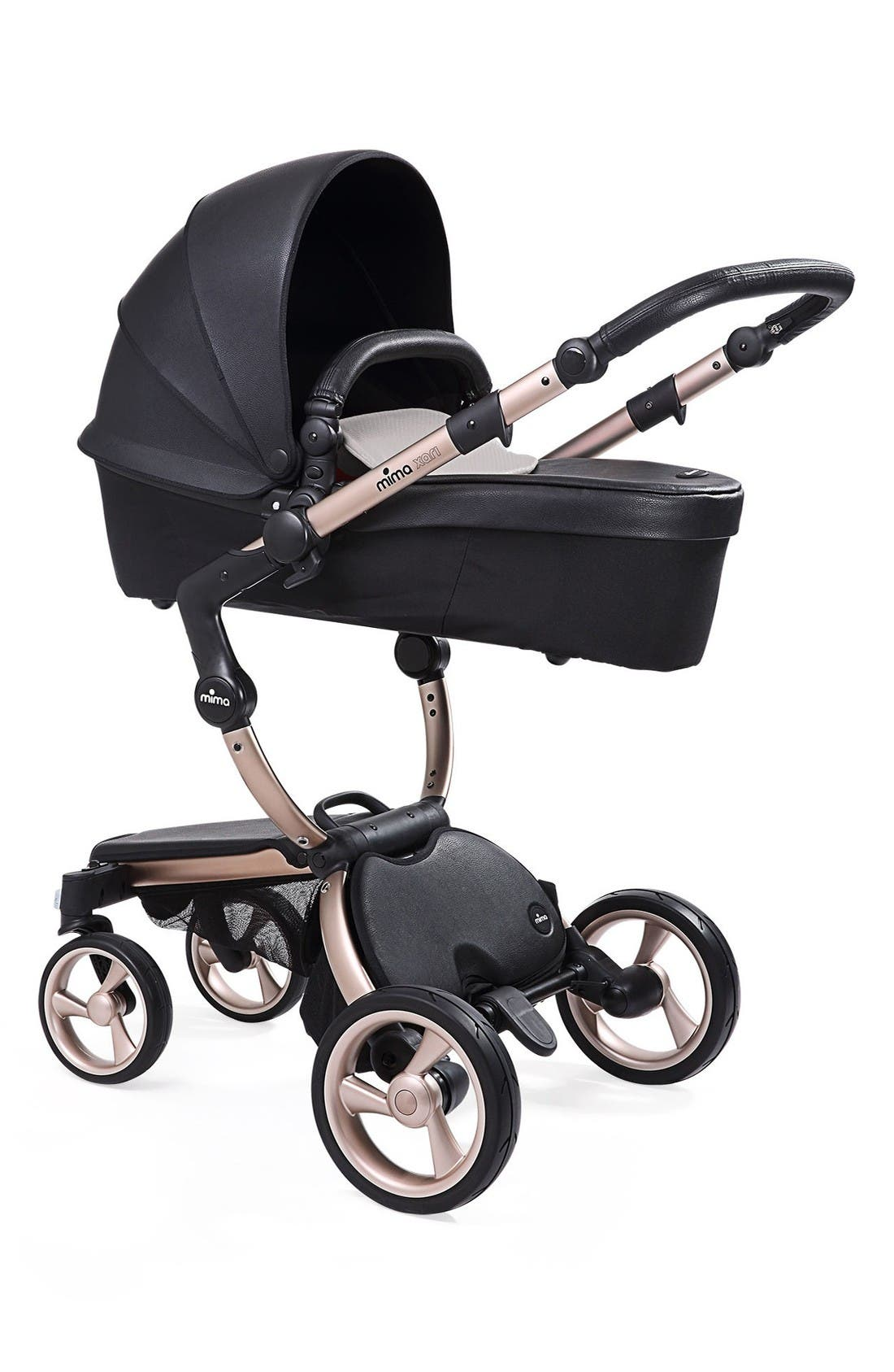 Xari Rose Goldtone Chassis Stroller with Reversible Reclining Seat & Carrycot,                         Main,                         color, Black/ Sandy Beige