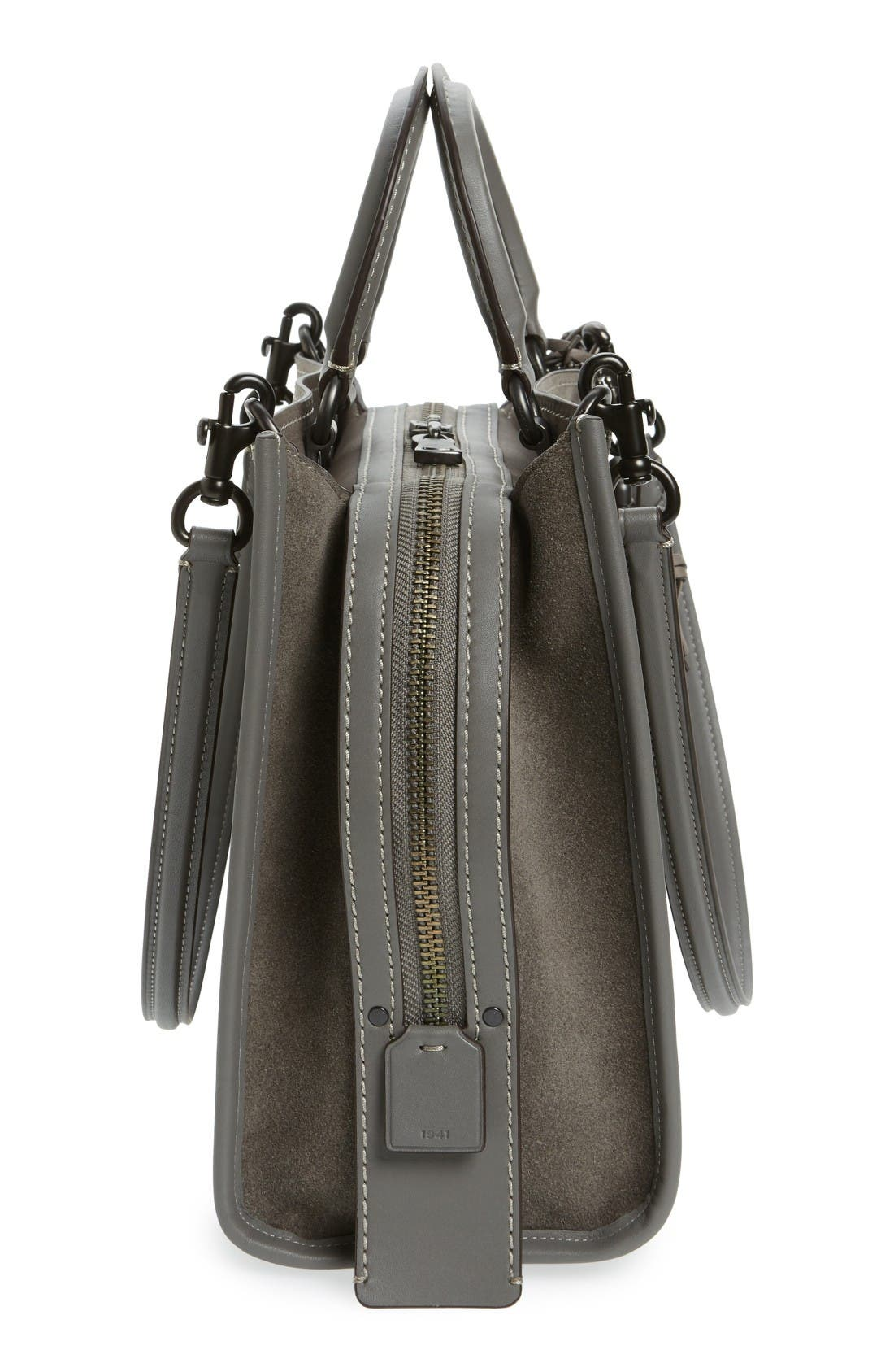 'Rogue' Leather Satchel,                             Alternate thumbnail 3, color,                             Heather Grey