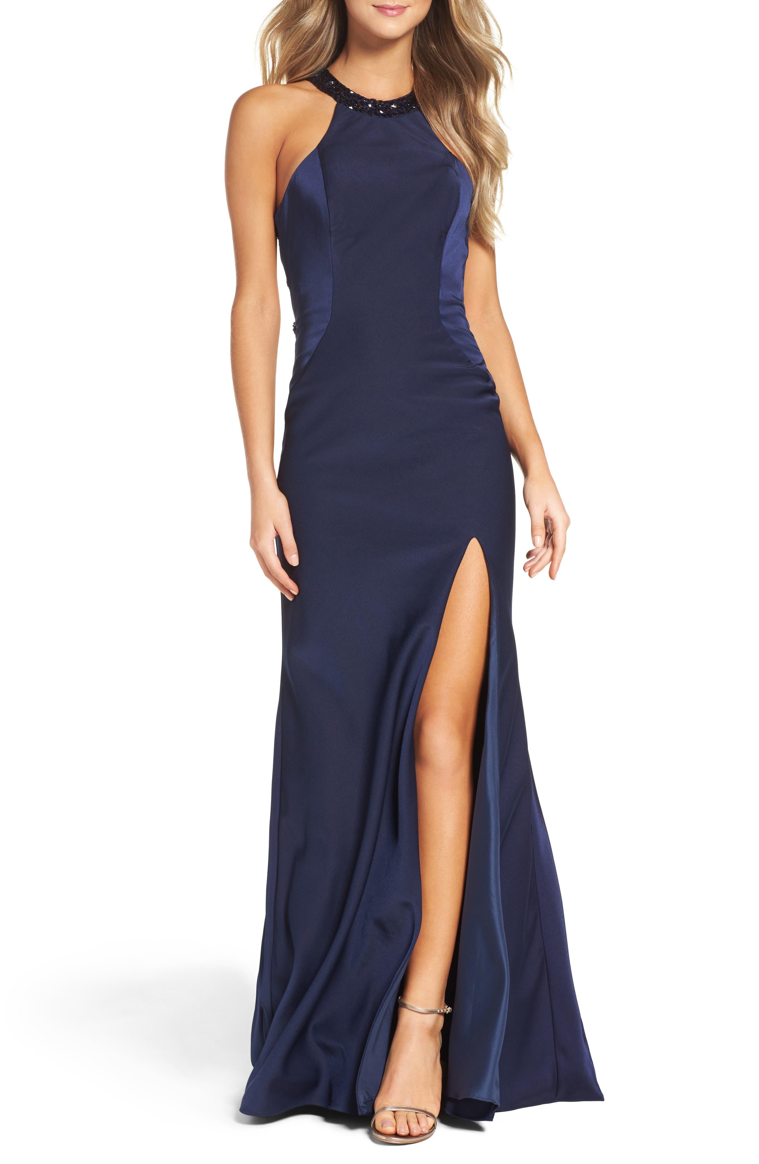La Femme Embellished Jersey Gown