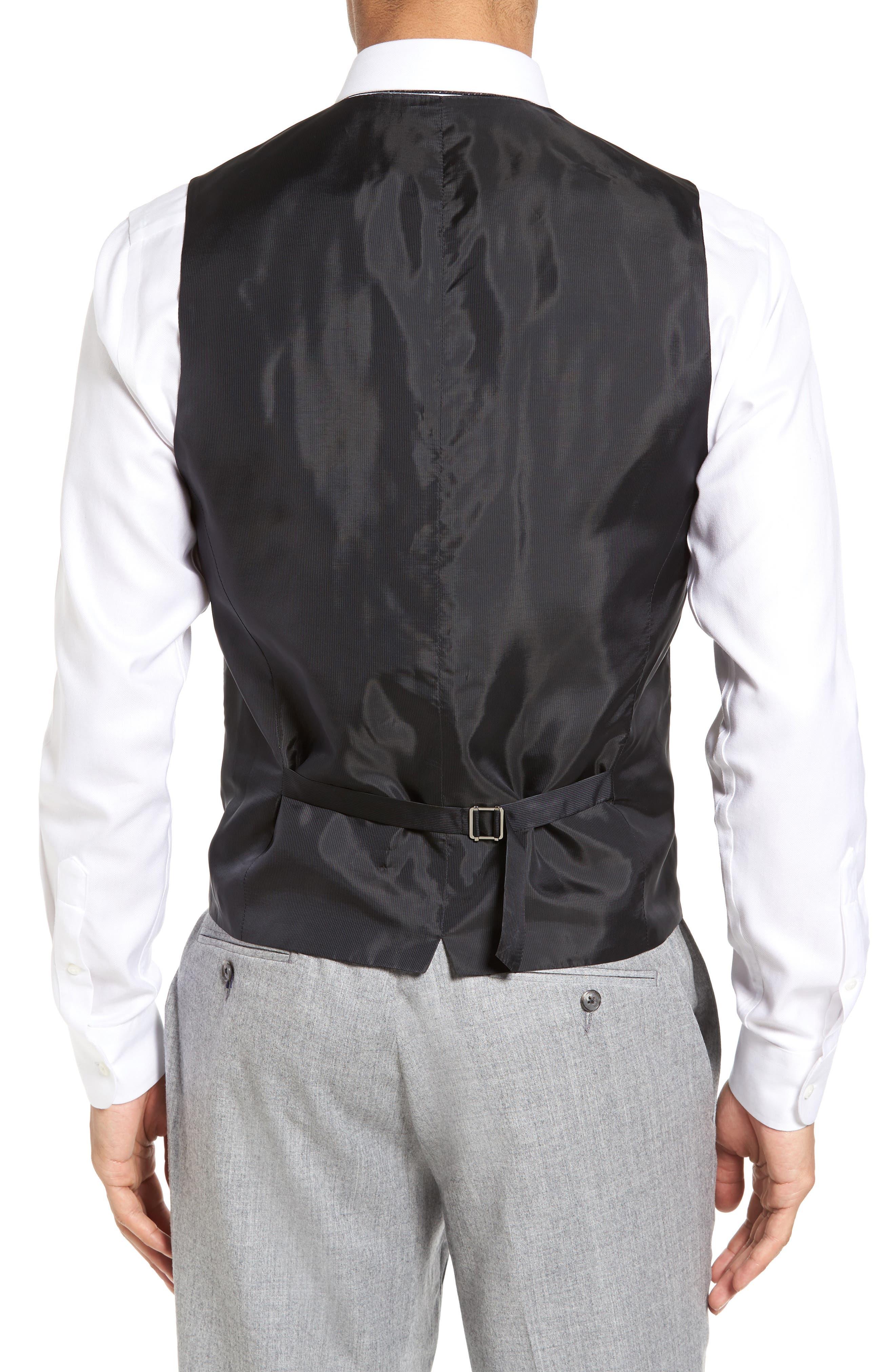Huge Weste Trim Fit Wool Vest,                             Alternate thumbnail 2, color,                             Black