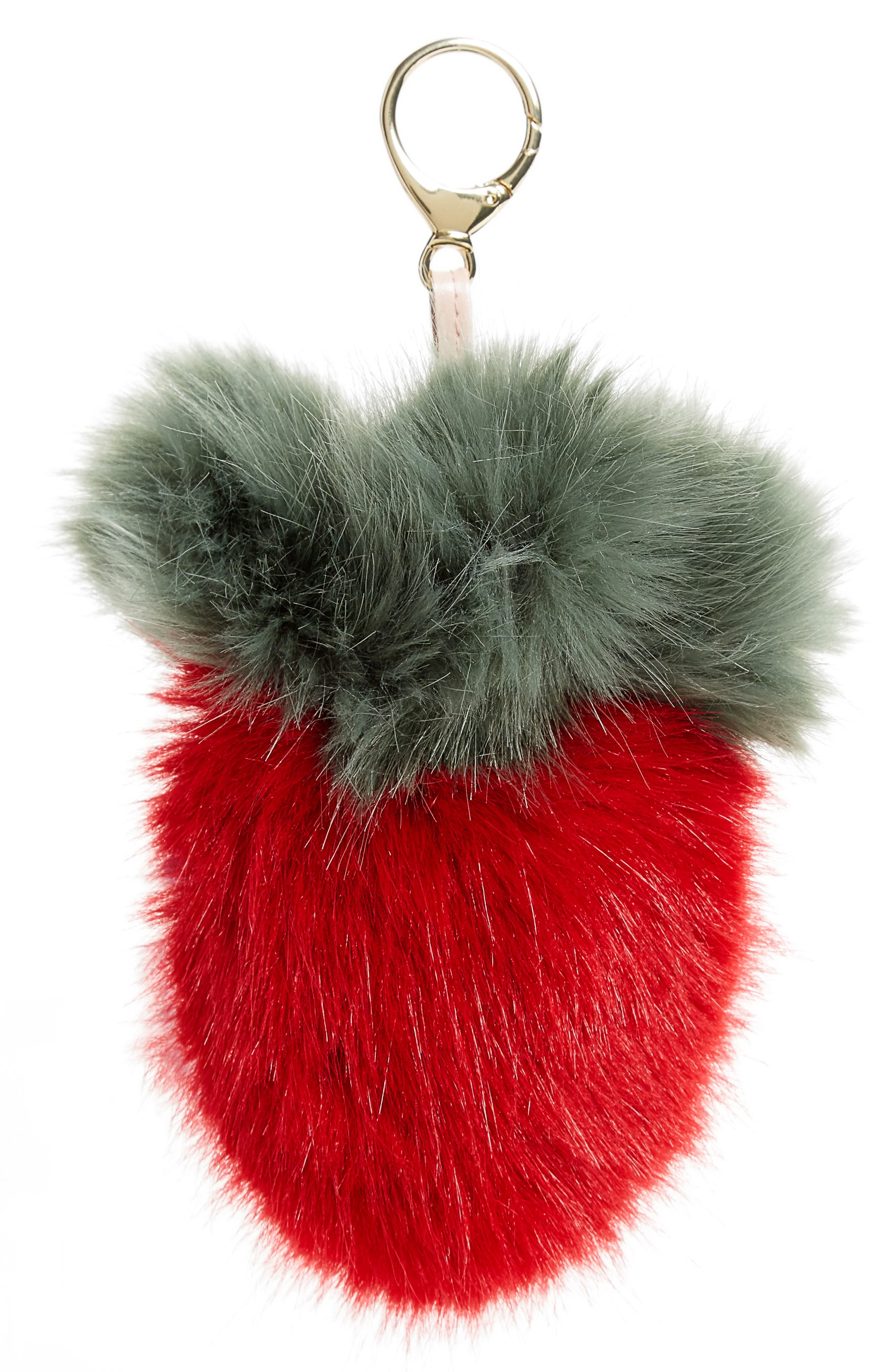 Alternate Image 1 Selected - Shrimps Strawberry Faux Fur Bag Charm