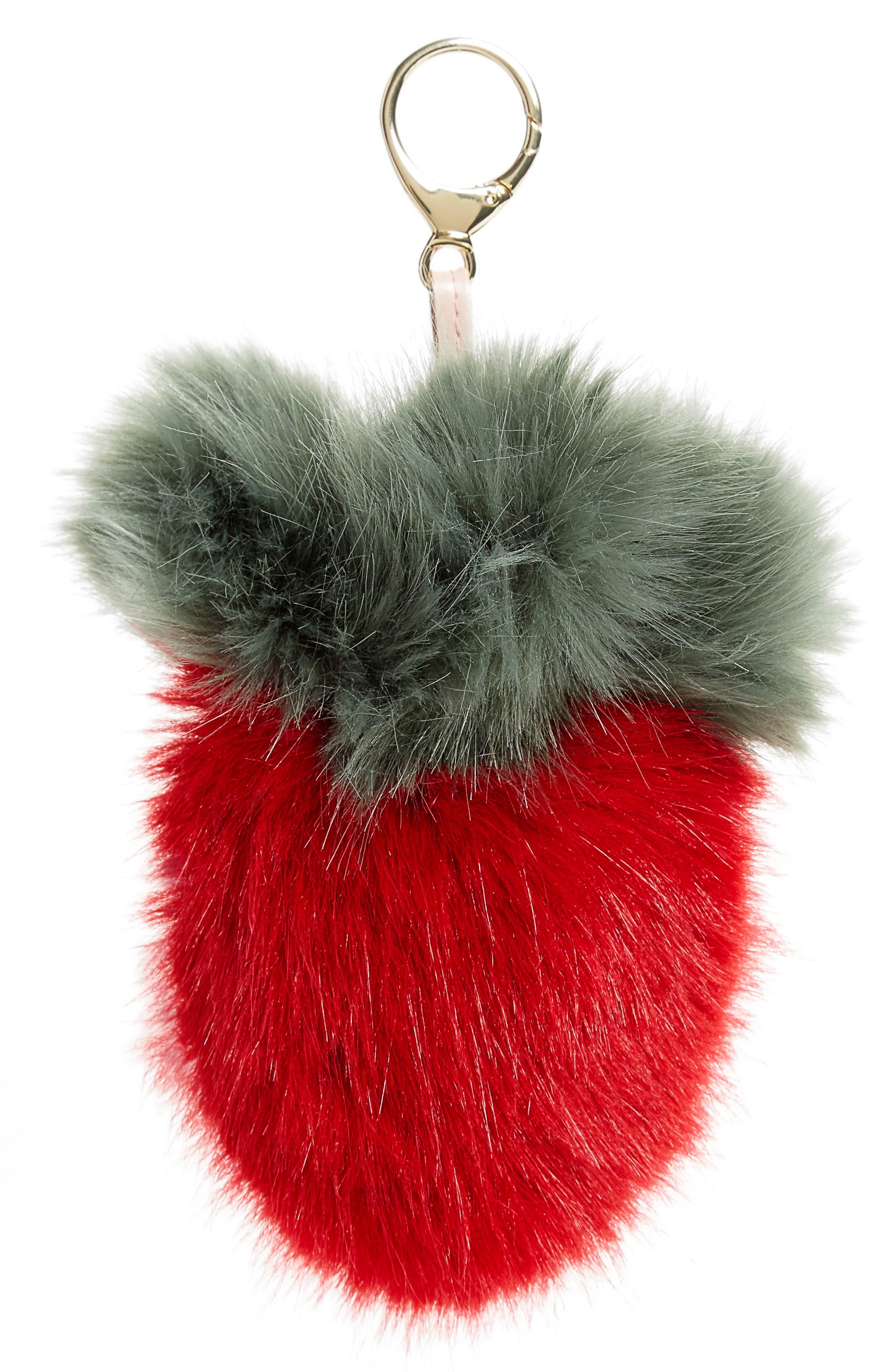 Main Image - Shrimps Strawberry Faux Fur Bag Charm