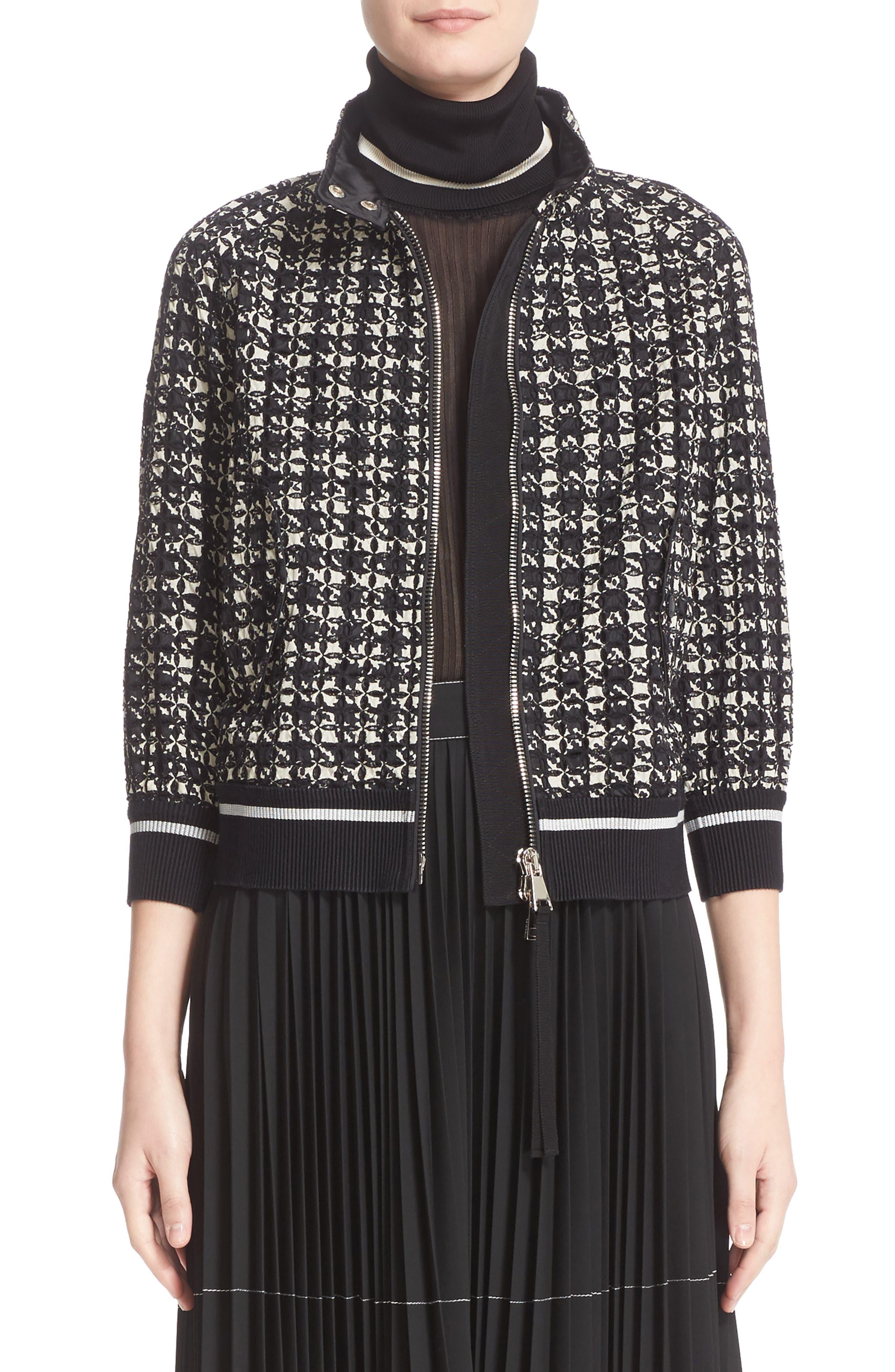 Fiadone Tweed Print Jacket,                             Main thumbnail 1, color,                             Black