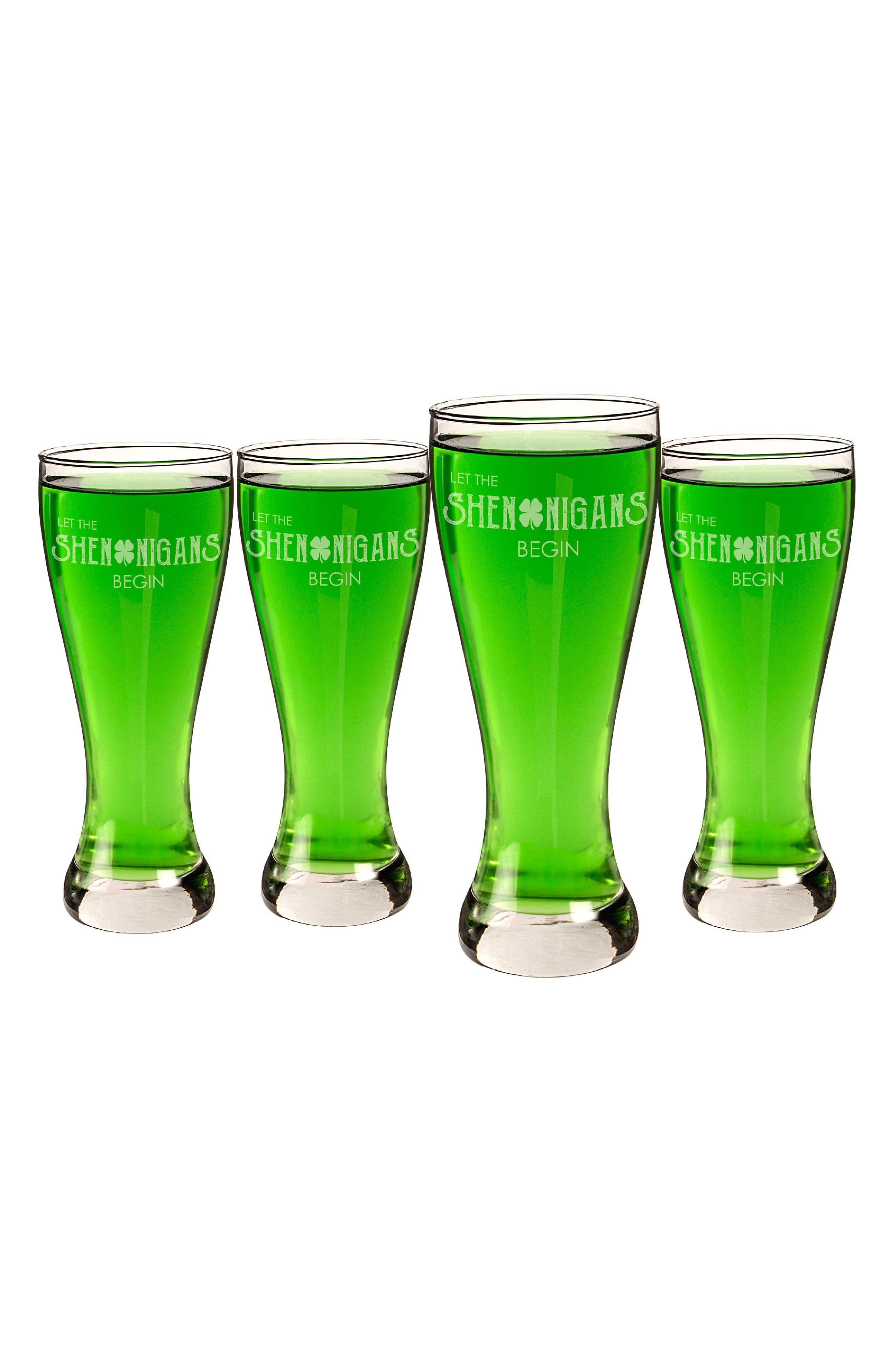 Set of 4 Pilsner Glasses,                         Main,                         color, Clear