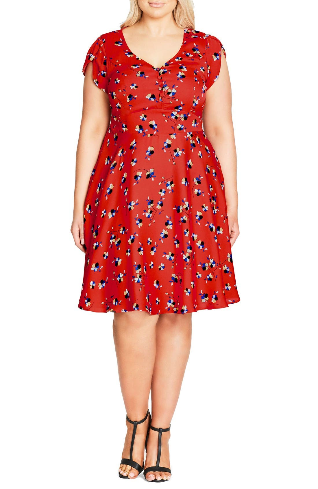 Cutie Pie Fit & Flare Dress,                         Main,                         color, Red Fire