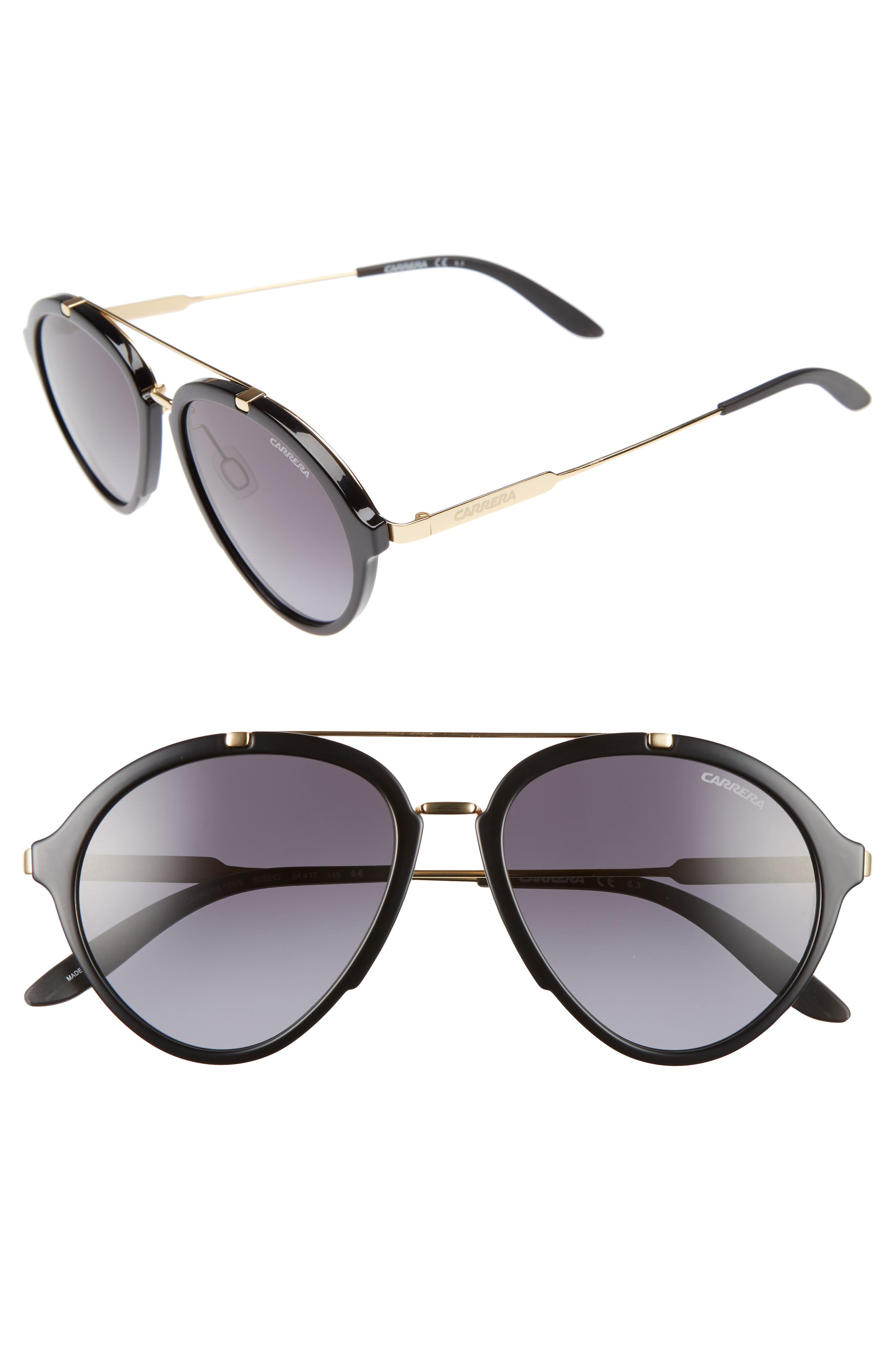54mm Gradient Aviator Sunglasses,                         Main,                         color, Shiny Black Gold