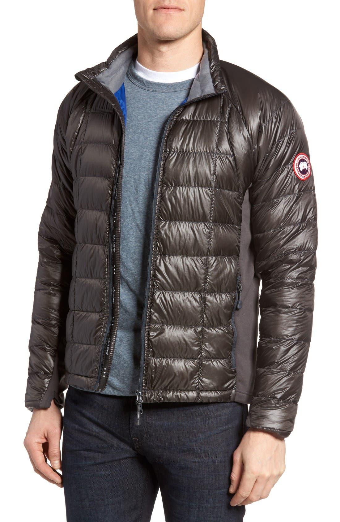 'Hybridge<sup>™</sup> Lite' Slim Fit Packable Jacket,                         Main,                         color, Graphite/ Pacific Blue