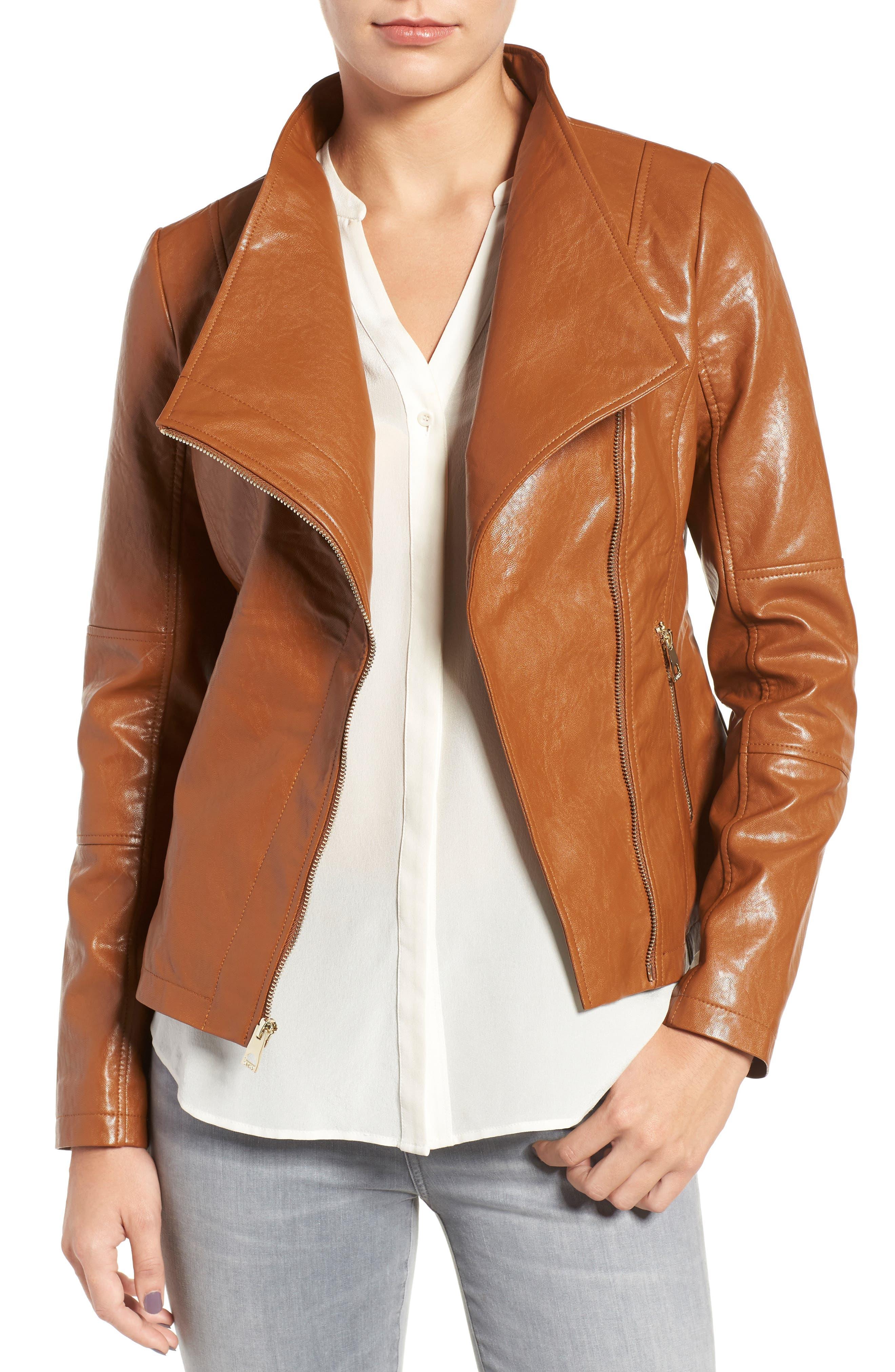 Asymmetrical Faux Leather Jacket,                         Main,                         color, Cognac