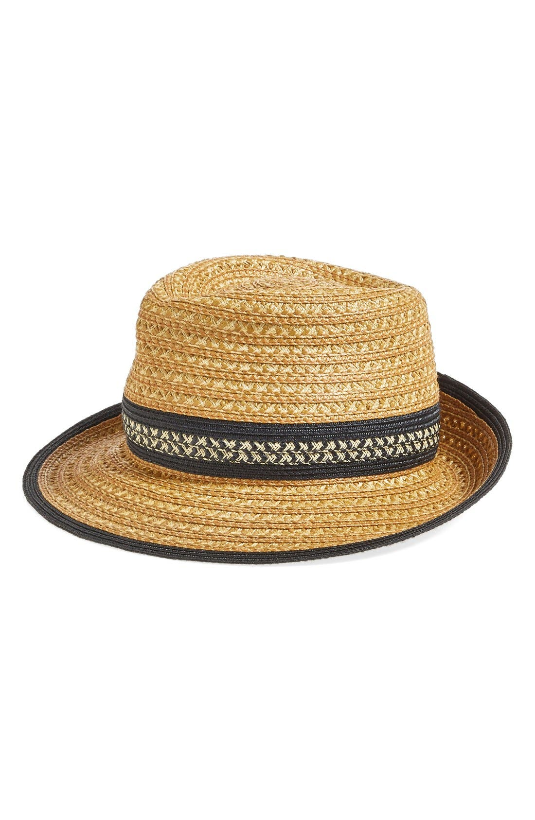 Squishee<sup>®</sup> Straw Fedora,                         Main,                         color, Natural/ Black Mix