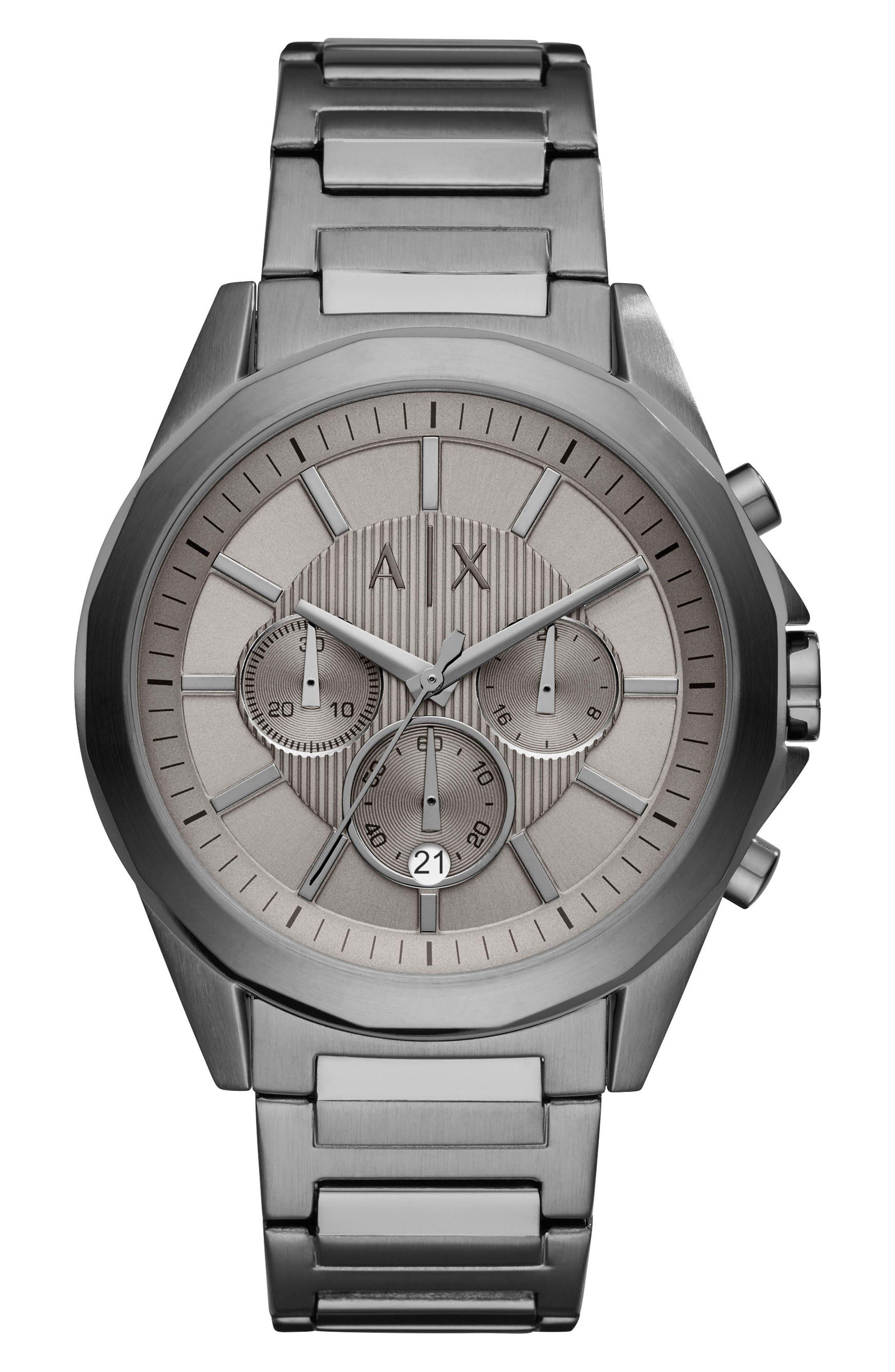 Chronograph Bracelet Watch, 44mm,                         Main,                         color, Grey/ Gunmetal