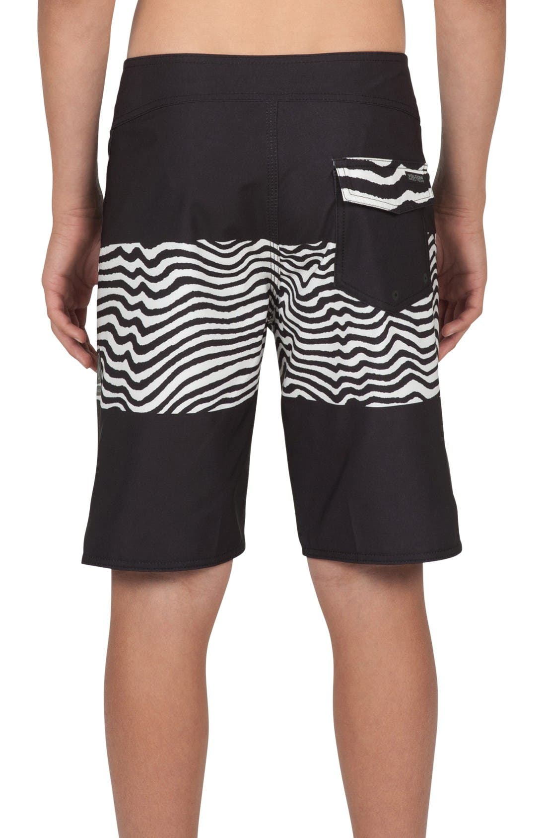 Macaw Mod Board Shorts,                             Alternate thumbnail 2, color,                             Black/ White