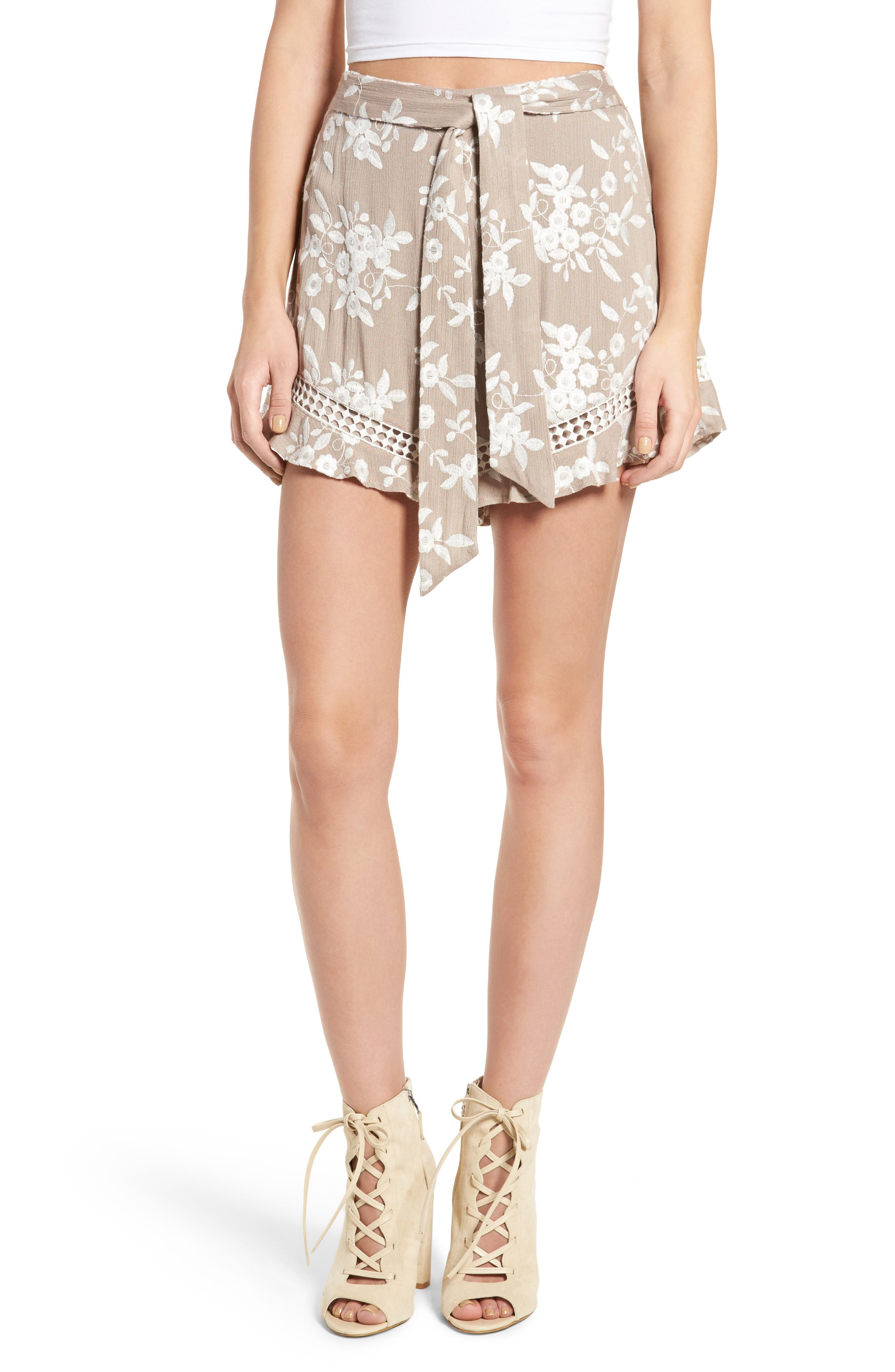 Embroidered Shorts,                         Main,                         color, Tan Latte