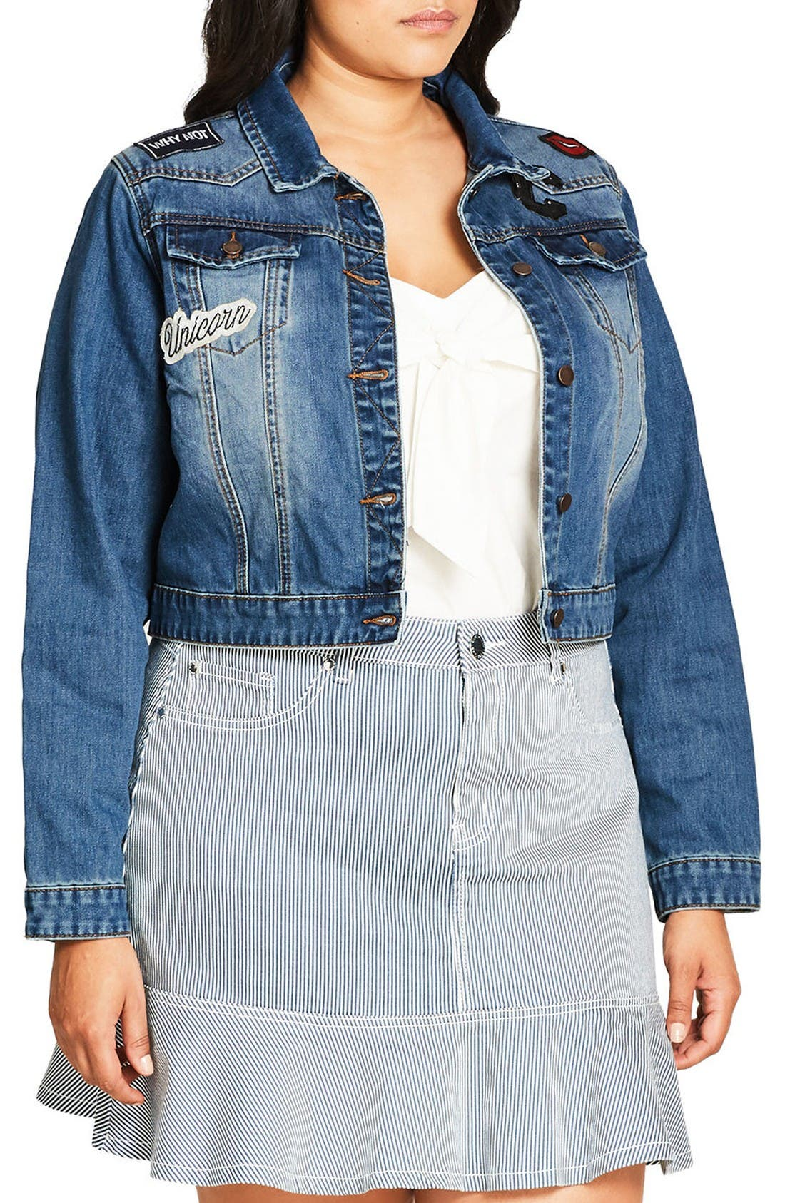 Alternate Image 3  - City Chic '80s Patch Denim Jacket (Plus Size)