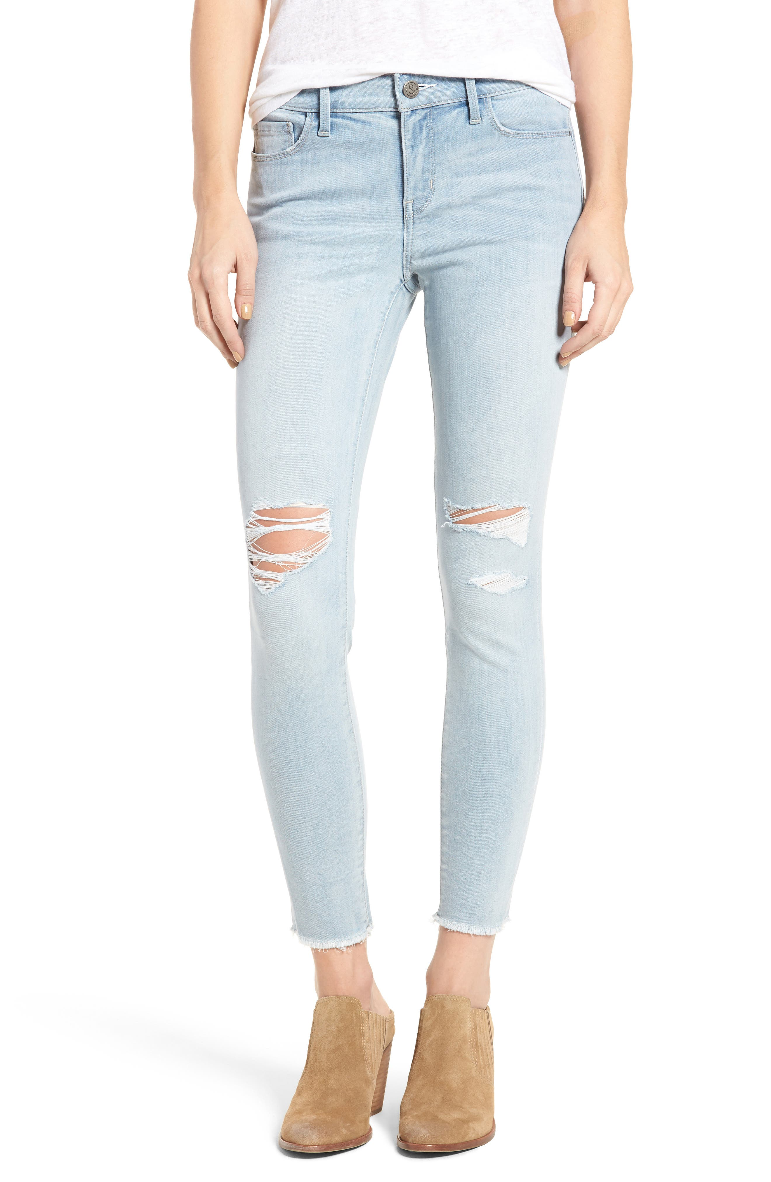 Main Image - Treasure & Bond Ankle Skinny Jeans (Mode Extra Light Destroy)