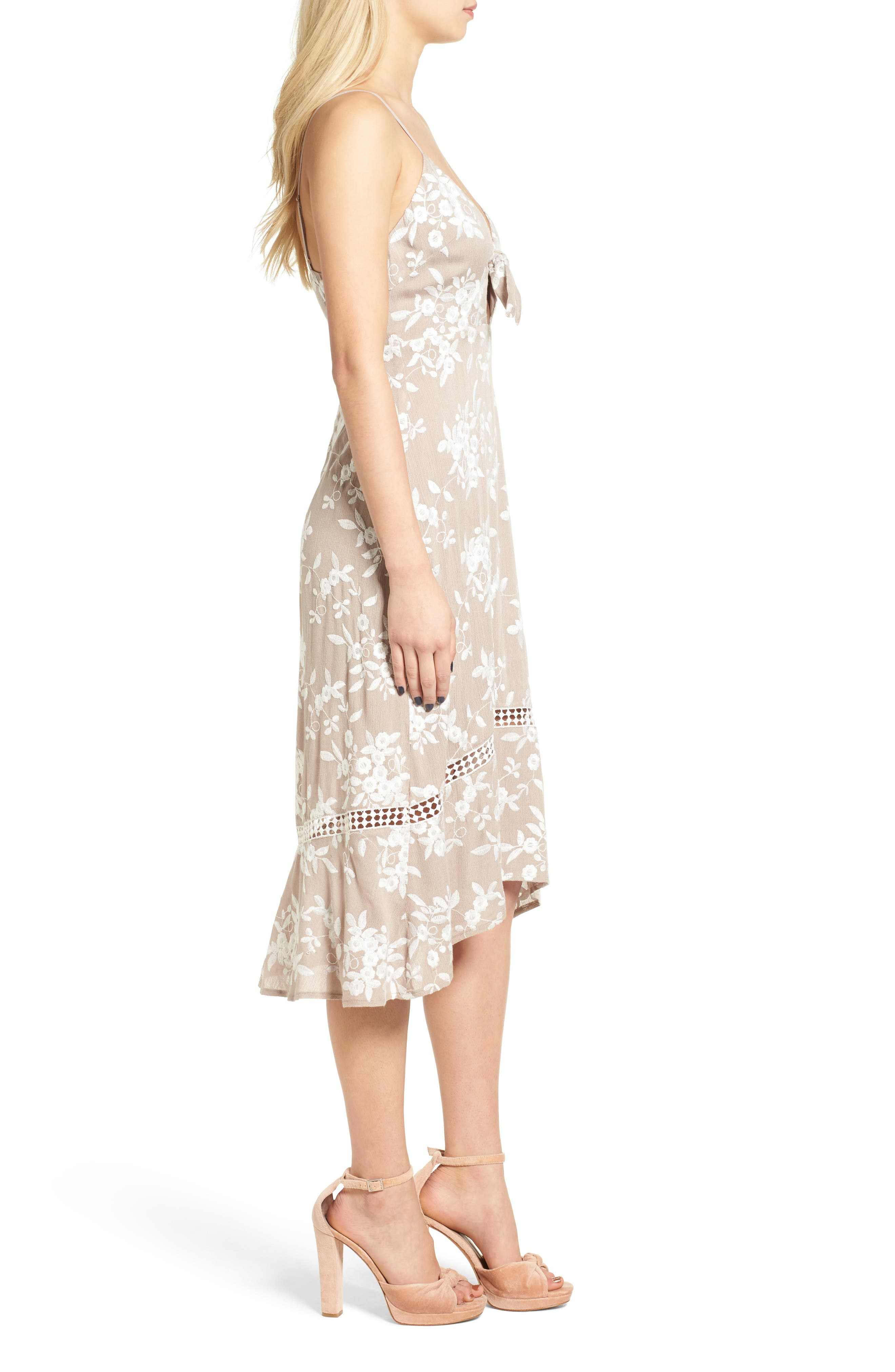 Alternate Image 4  - ASTR the Label Embroidered Tie Front Dress