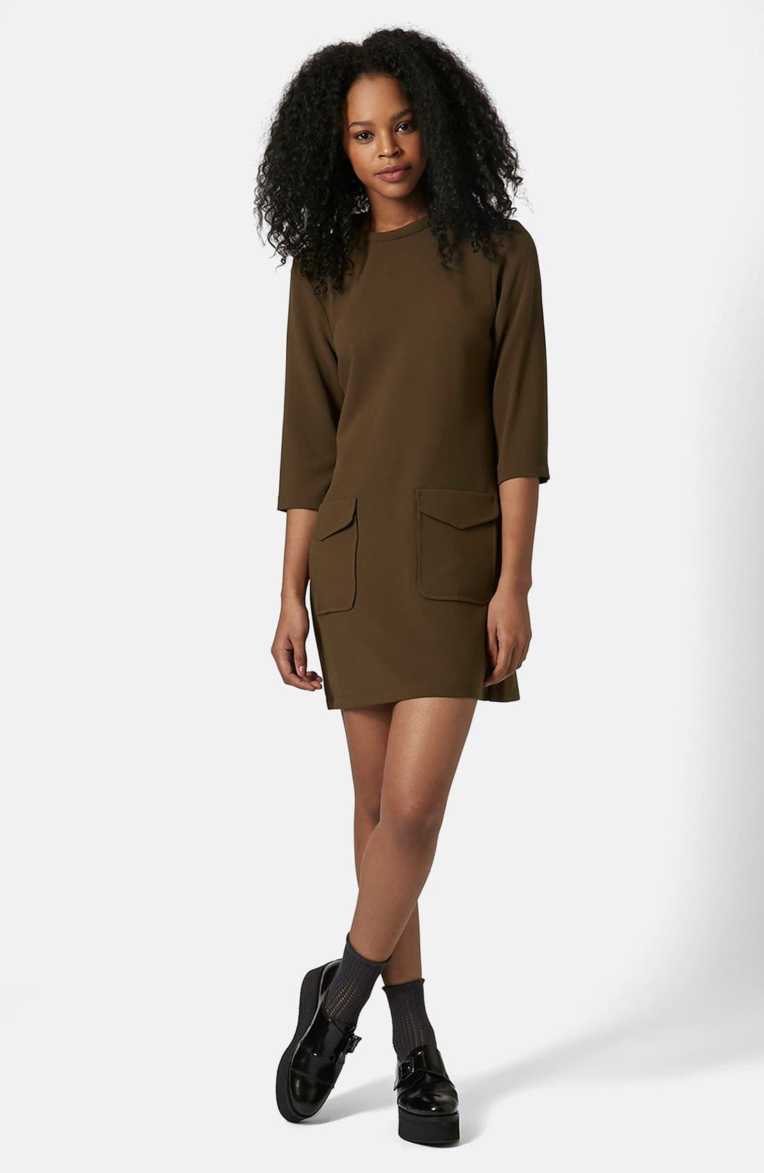 Utility Pocket Tunic Dress,                             Main thumbnail 1, color,                             Olive