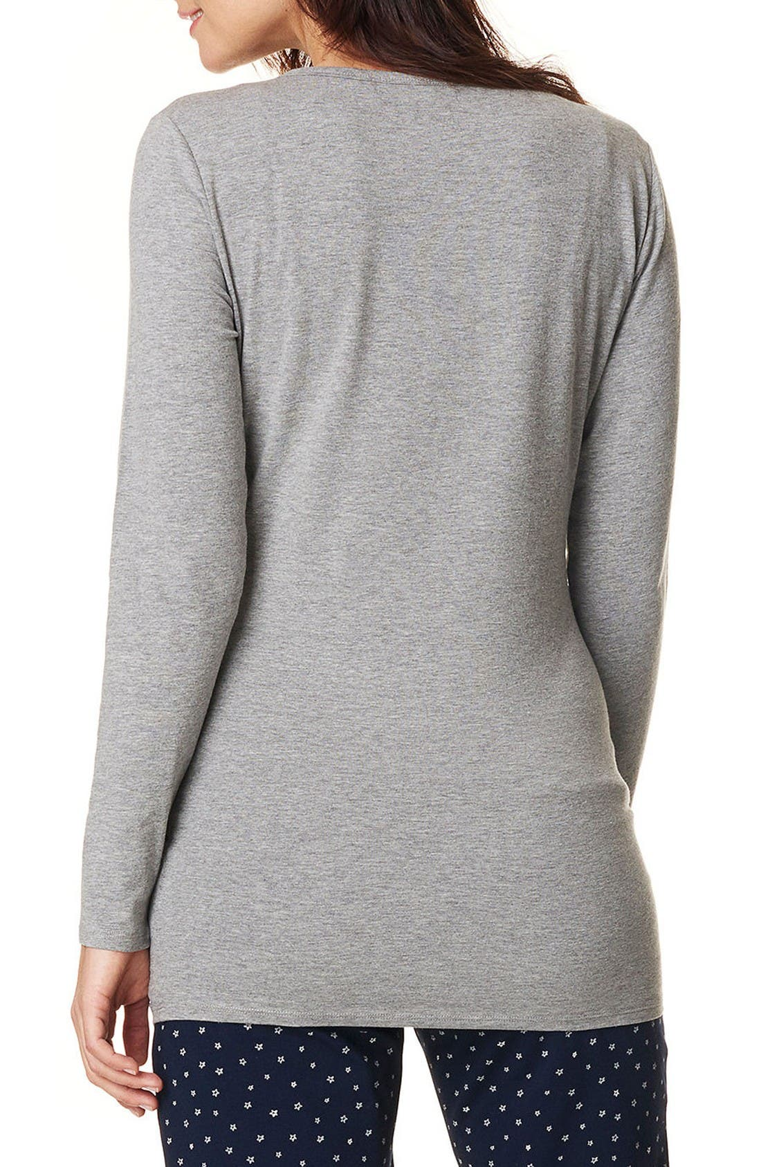 Feline Henley Maternity/Nursing Tee,                             Alternate thumbnail 2, color,                             Grey