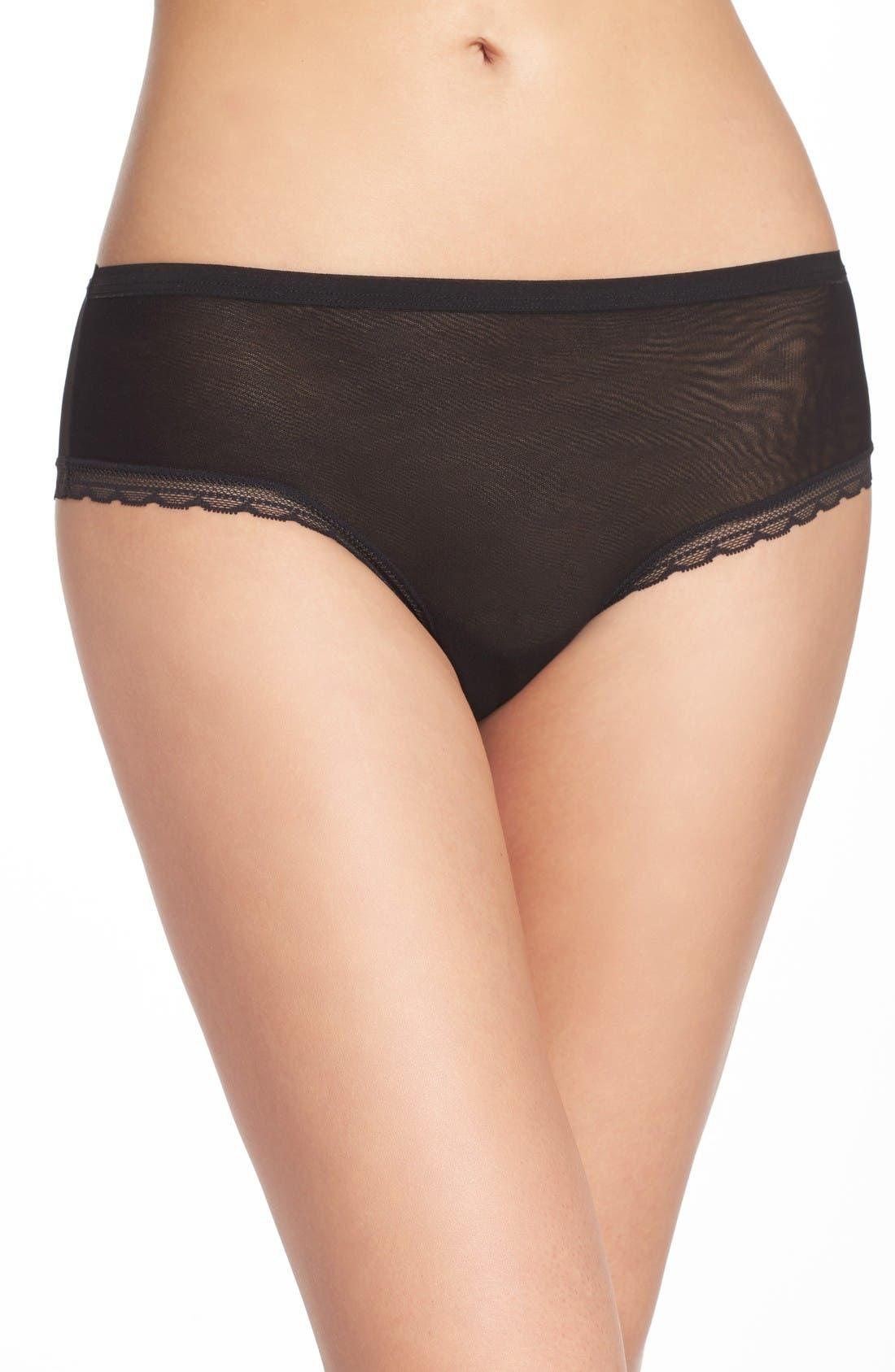 Modern Mesh Panties,                         Main,                         color, Black