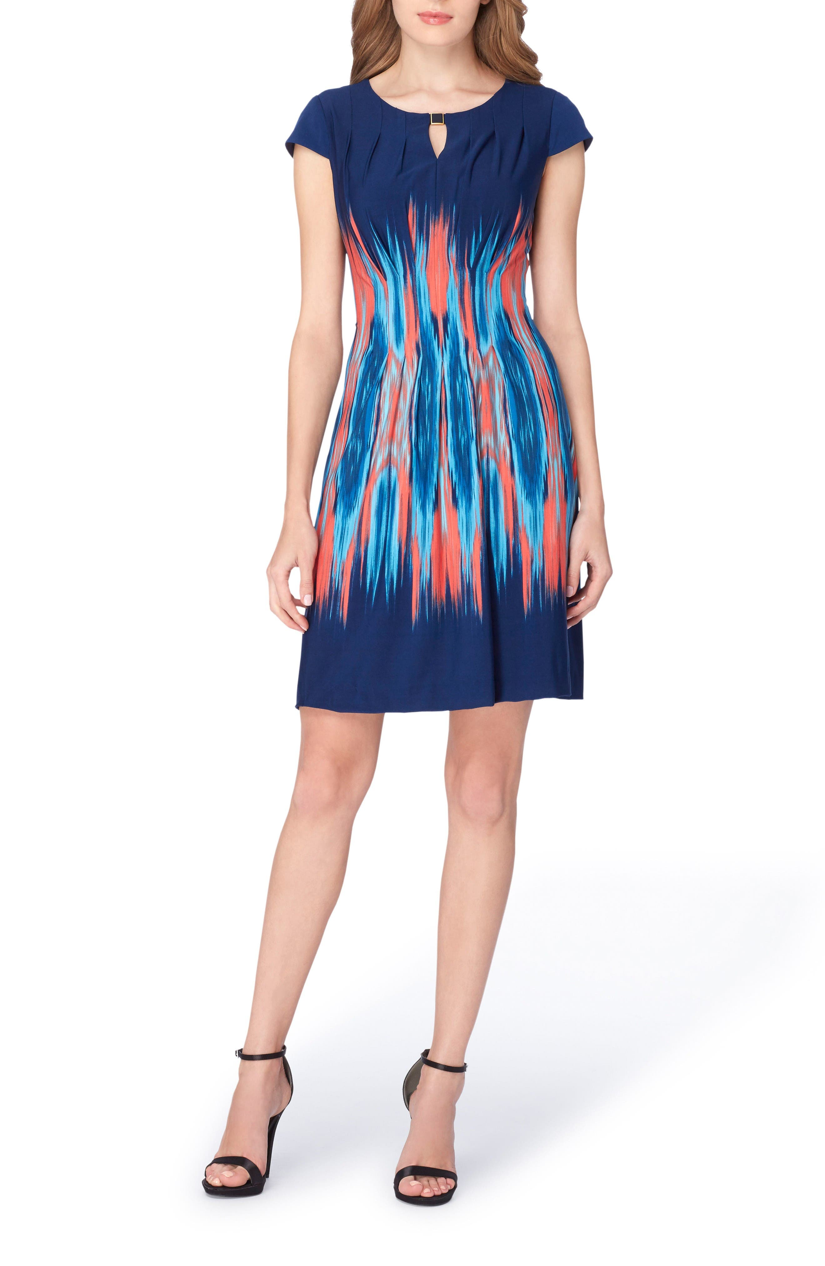 Flame Print Jersey Sheath Dress,                             Alternate thumbnail 3, color,                             Navy/ Coral/ Turquoise
