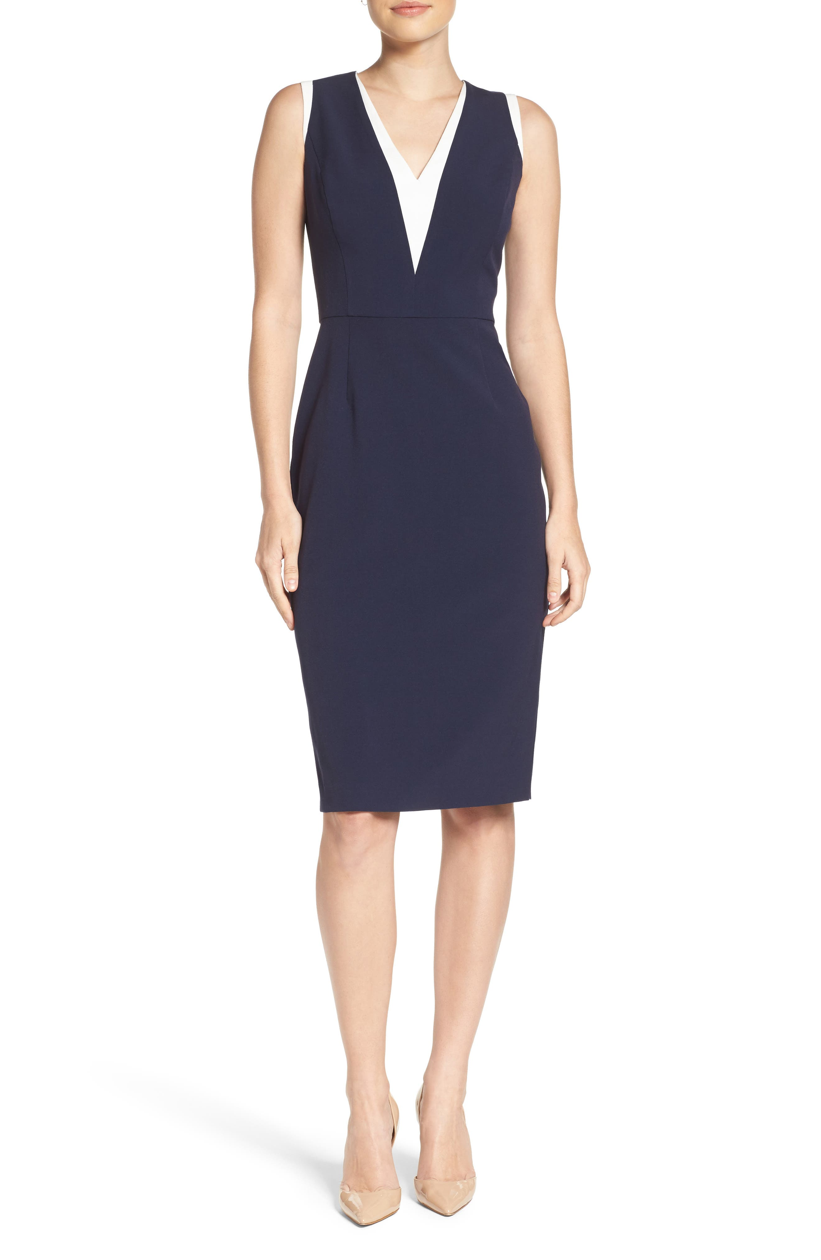 Stretch Sheath Dress,                         Main,                         color, Navy/ Ivory