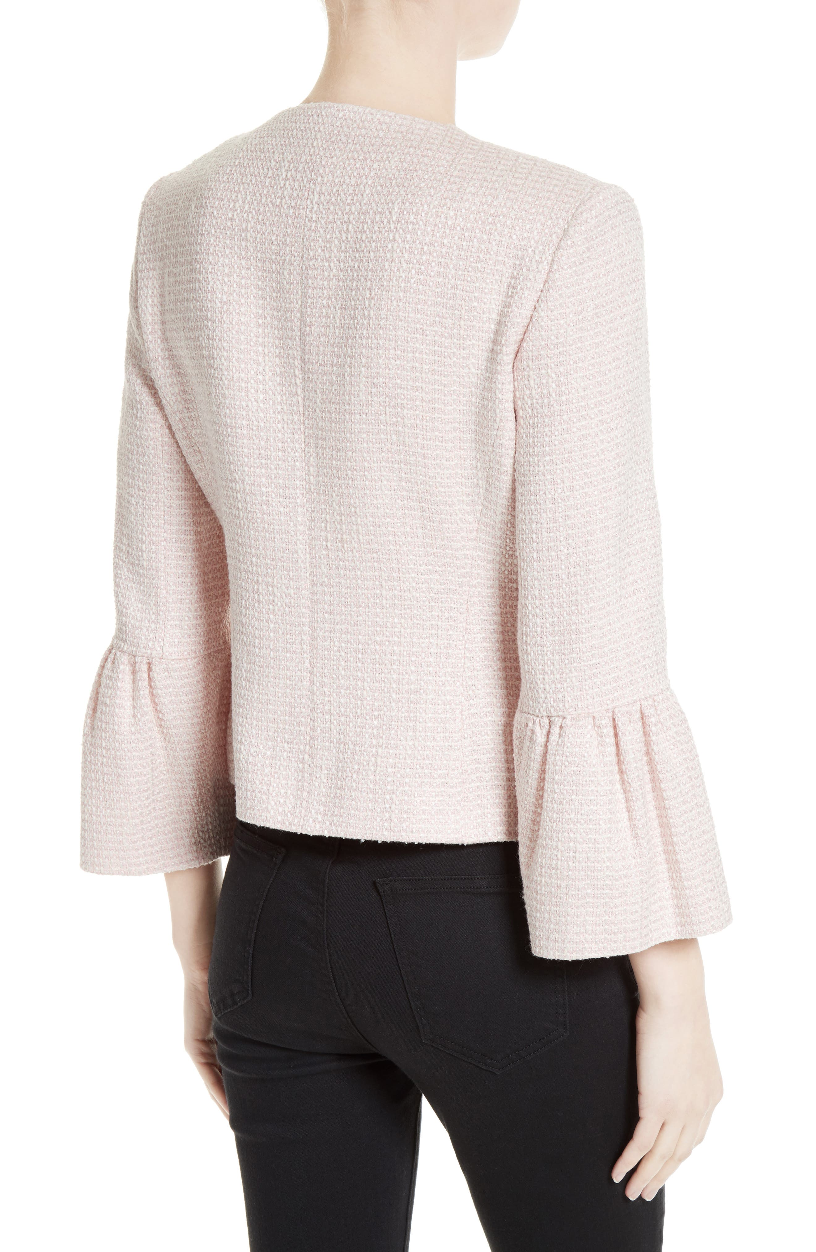Tweed Jacket,                             Alternate thumbnail 2, color,                             Pale Pink/ Ivory