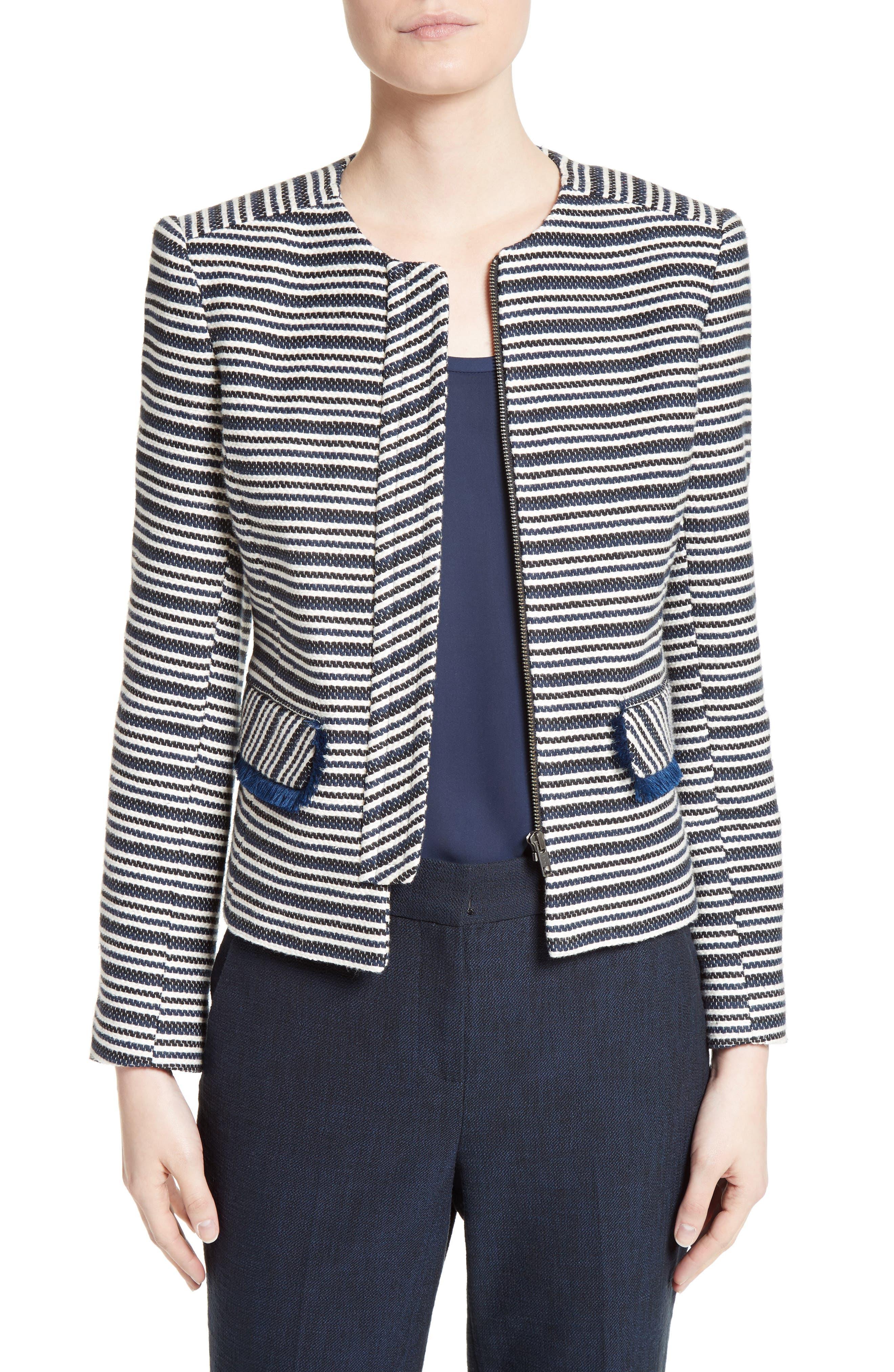 Helene Berman Stripe Collarless Zip Front Jacket