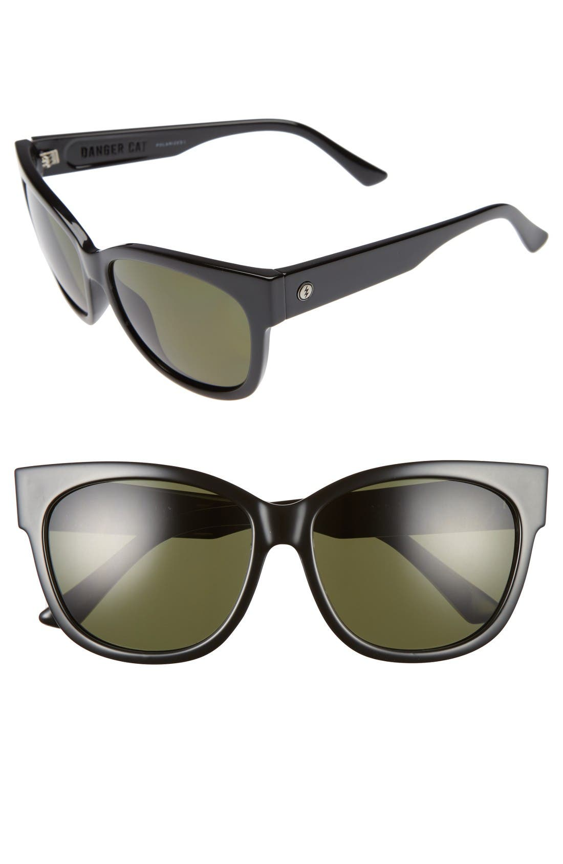Danger Cat 58mm Sunglasses,                             Main thumbnail 1, color,                             Gloss Black/ Polarized Grey