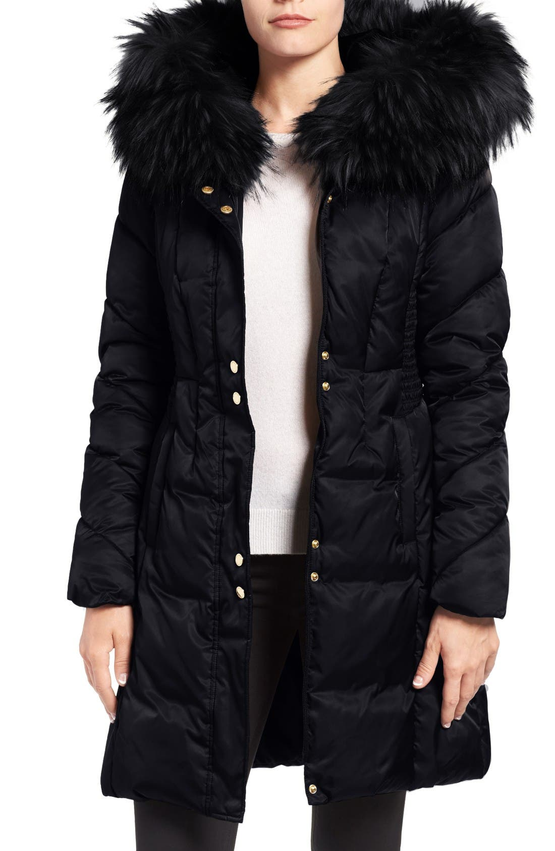 Water Repellent Quilted Puffer Coat with Faux Fur Trim,                             Main thumbnail 1, color,                             Black