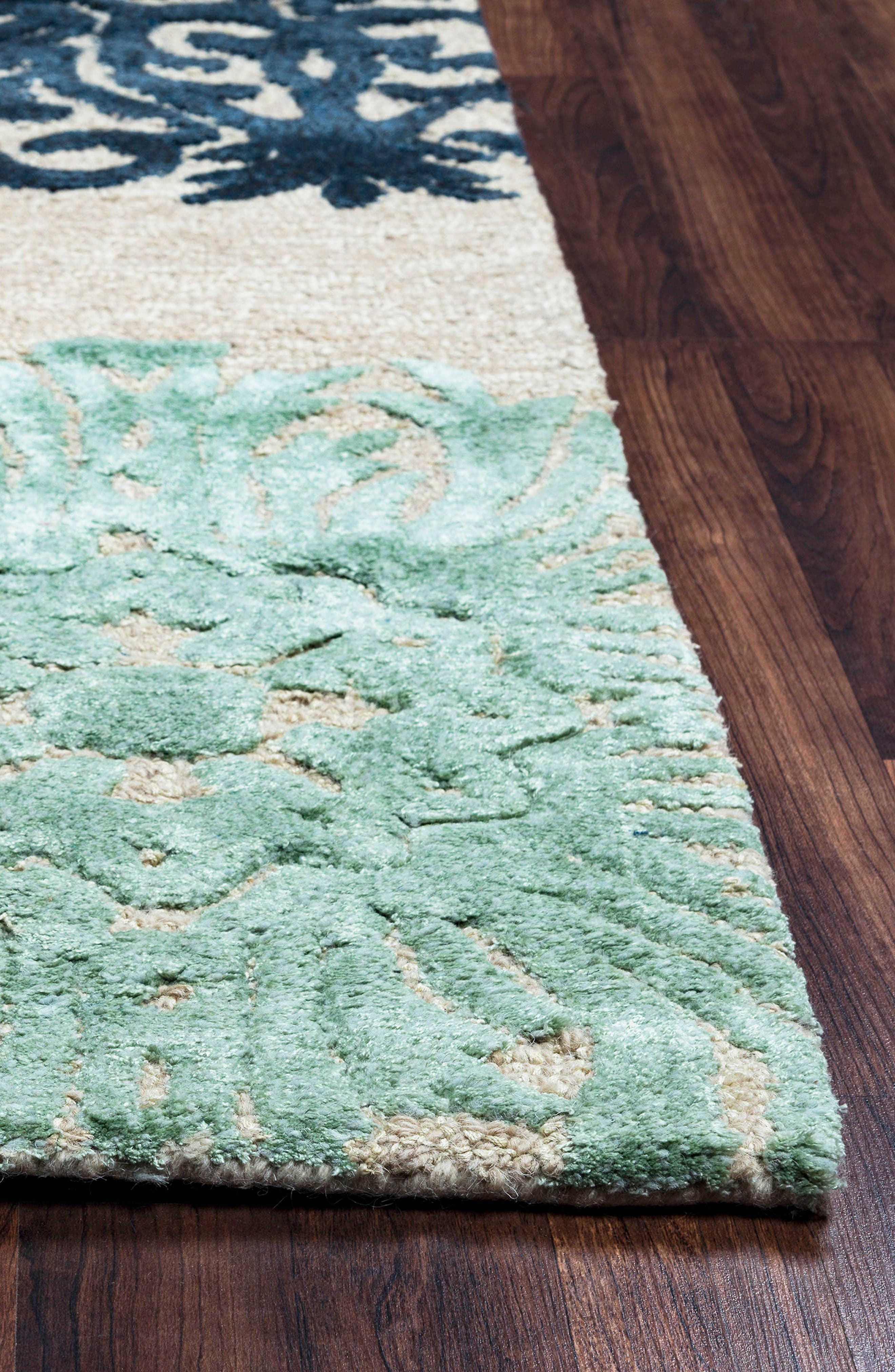 'Eden Harbor' Hand Tufted Wool Area Rug,                             Alternate thumbnail 3, color,                             Navy/ Aqua/ Grey