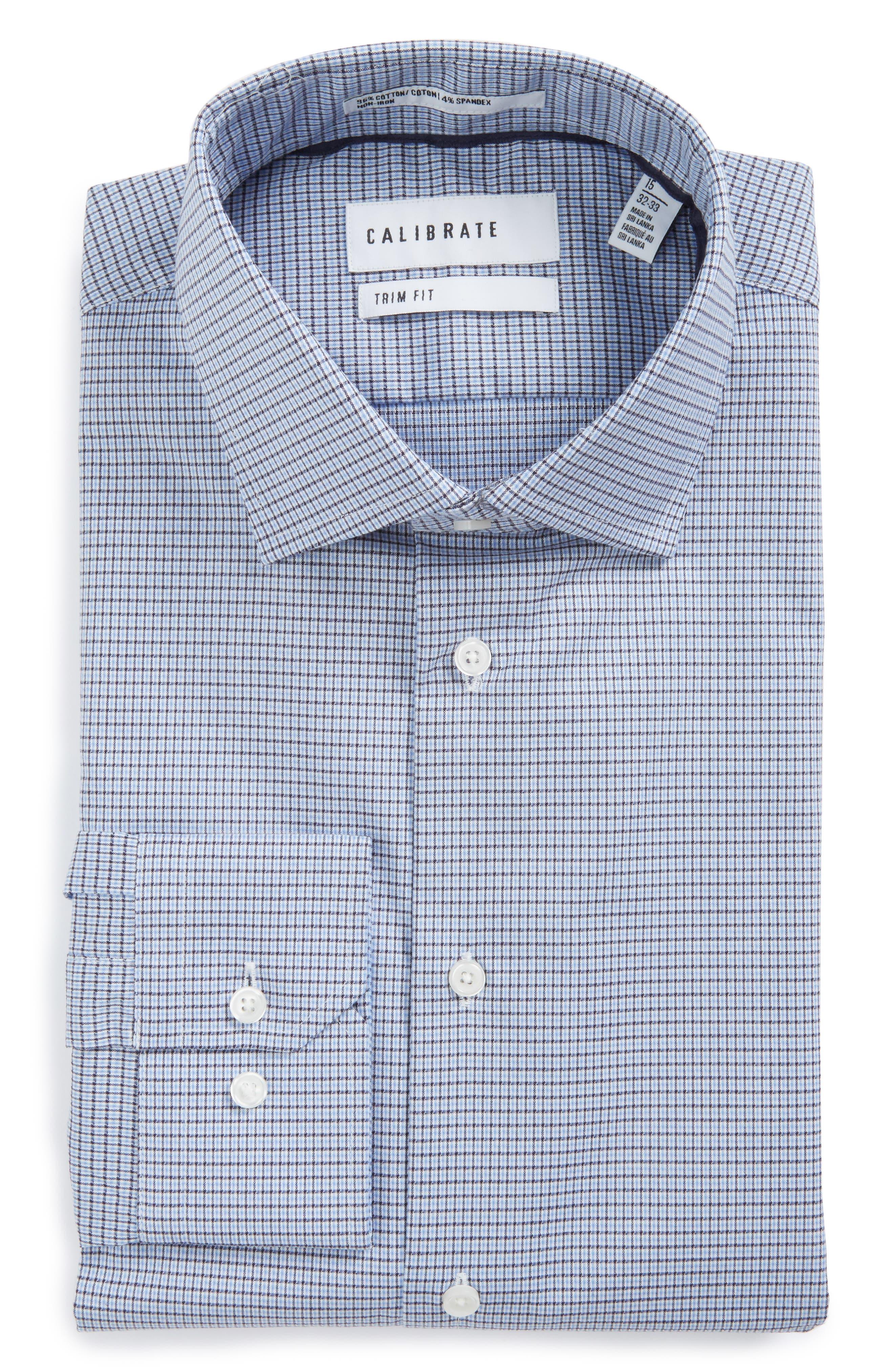 Trim Fit Non-Iron Check Stretch Dress Shirt,                         Main,                         color, Blue Regatta