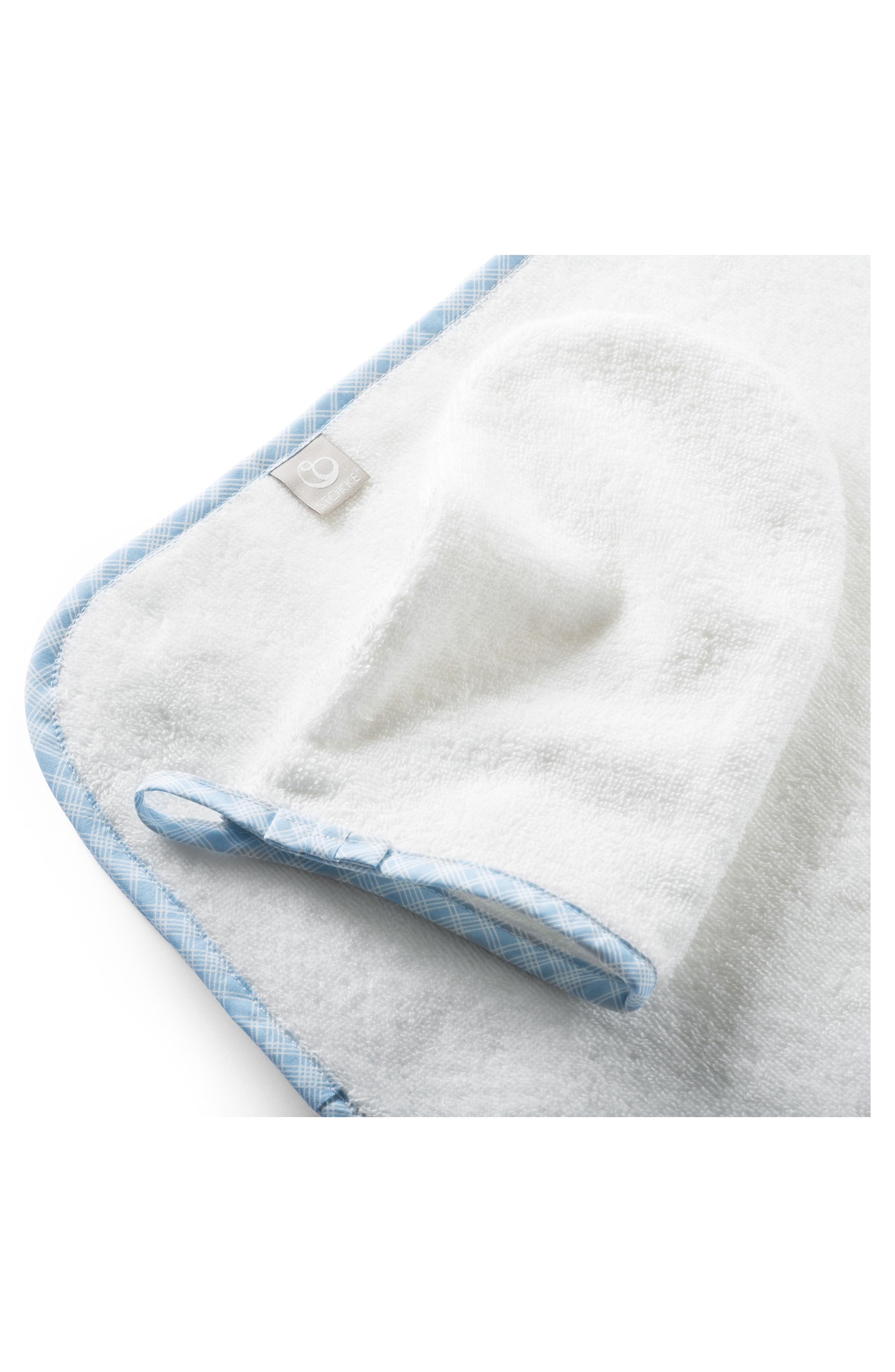 Hooded Towel & Bath Mitt Set,                             Alternate thumbnail 2, color,                             Blue Checks