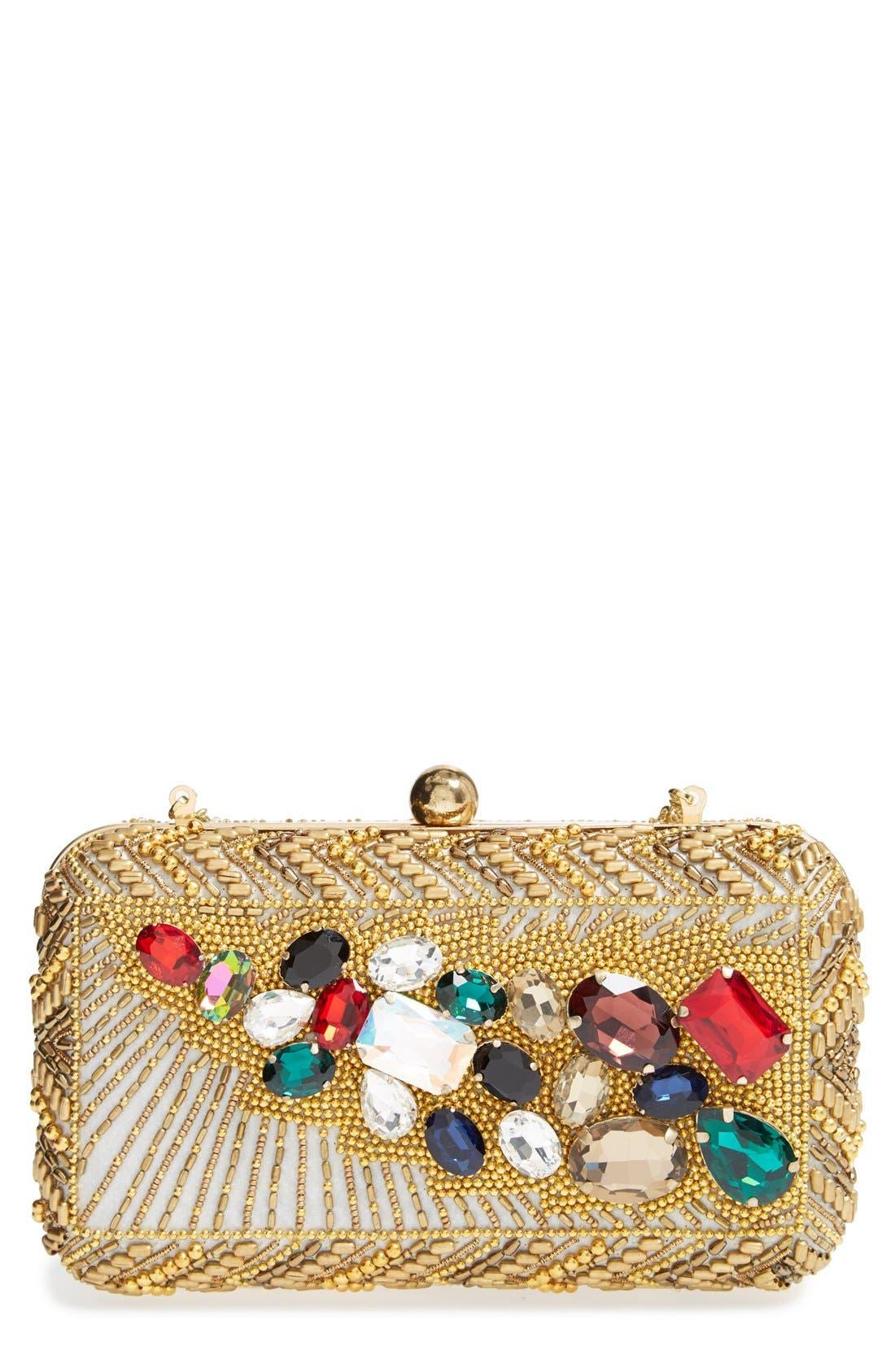 Main Image - Natasha Couture 'Left Bank' Embellished Box Clutch