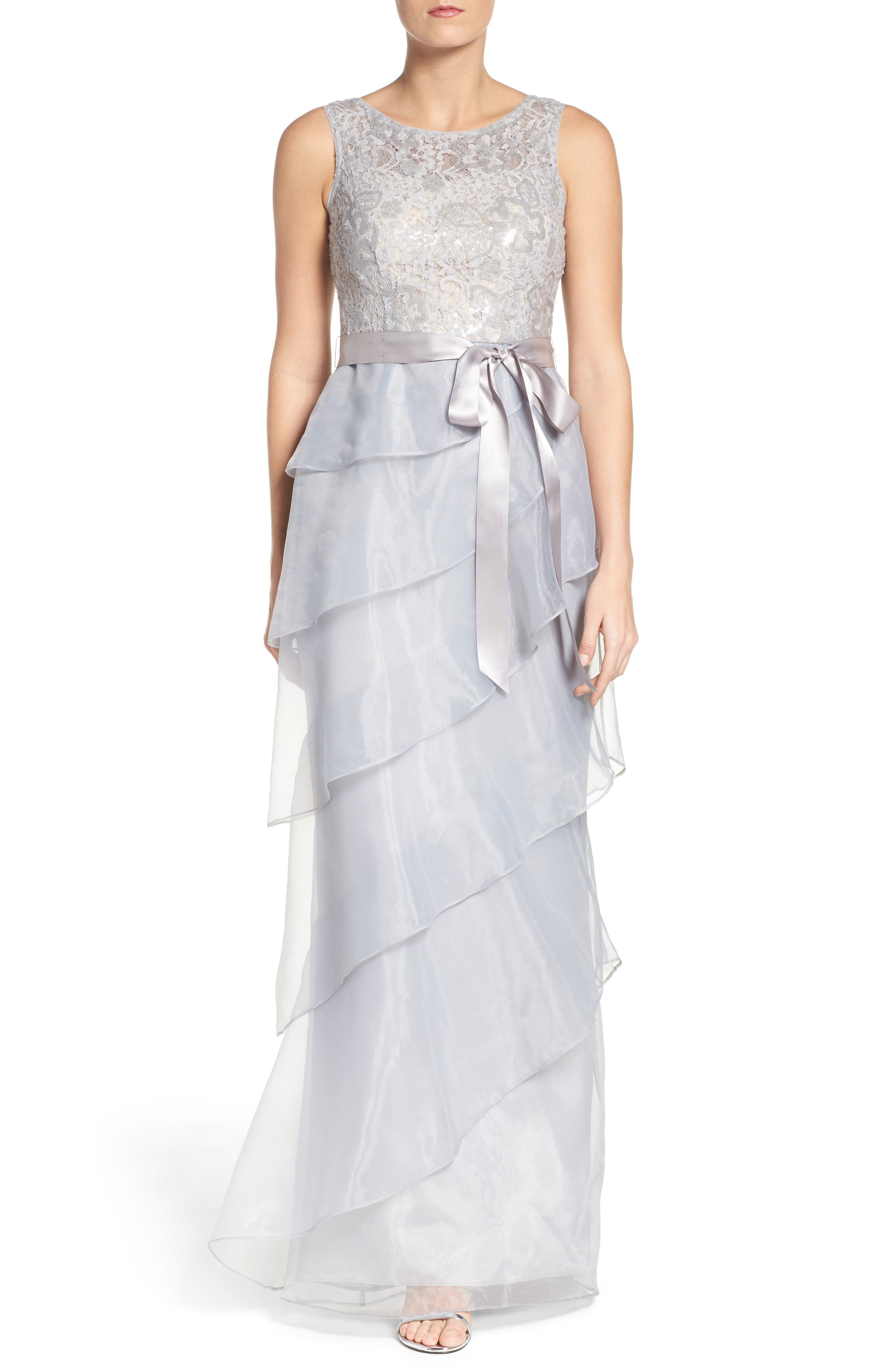 Adrianna Papell Organza Ruffle Gown