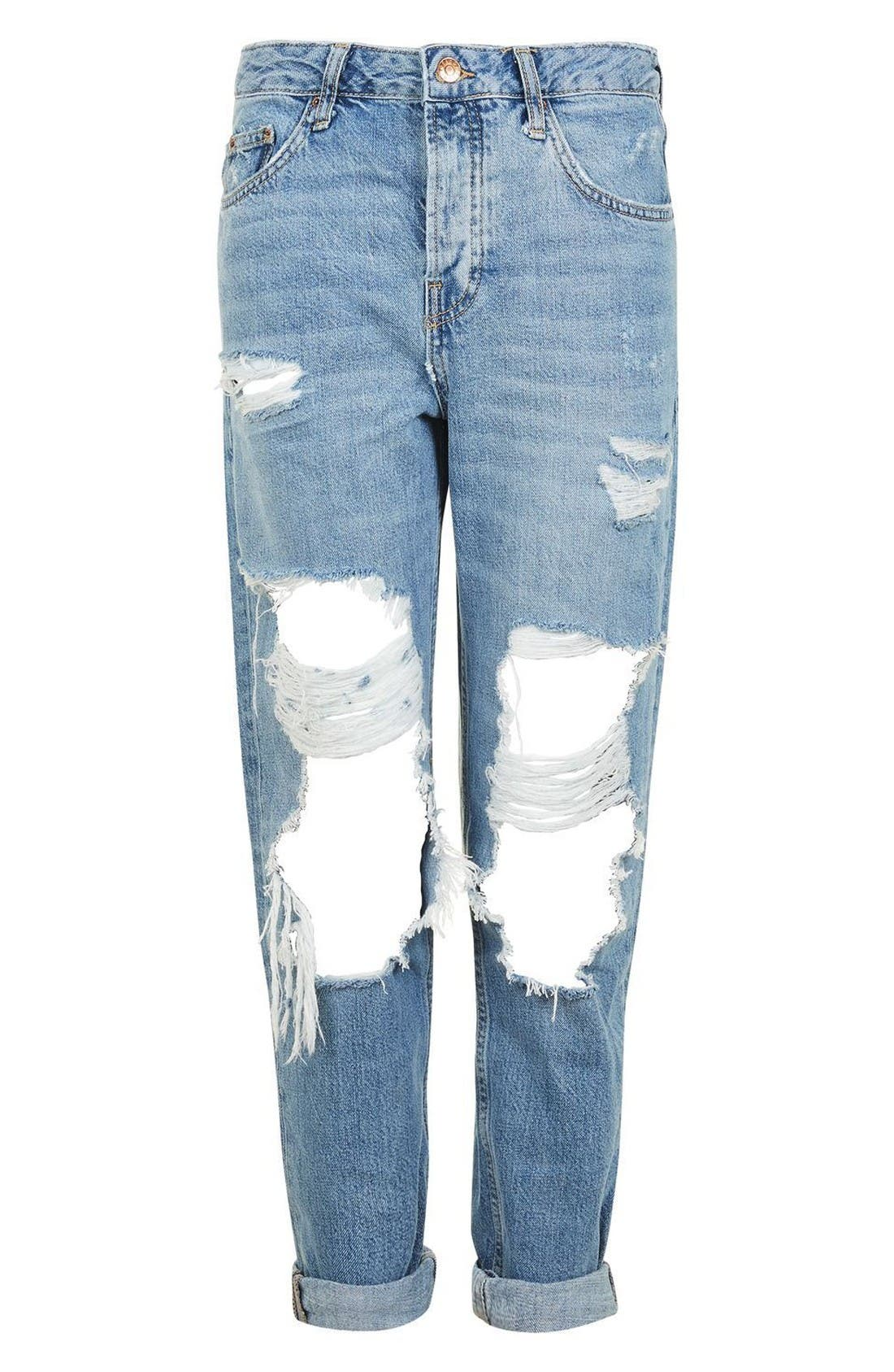 Hayden Ripped Boyfriend Jeans,                             Alternate thumbnail 4, color,                             Mid Denim