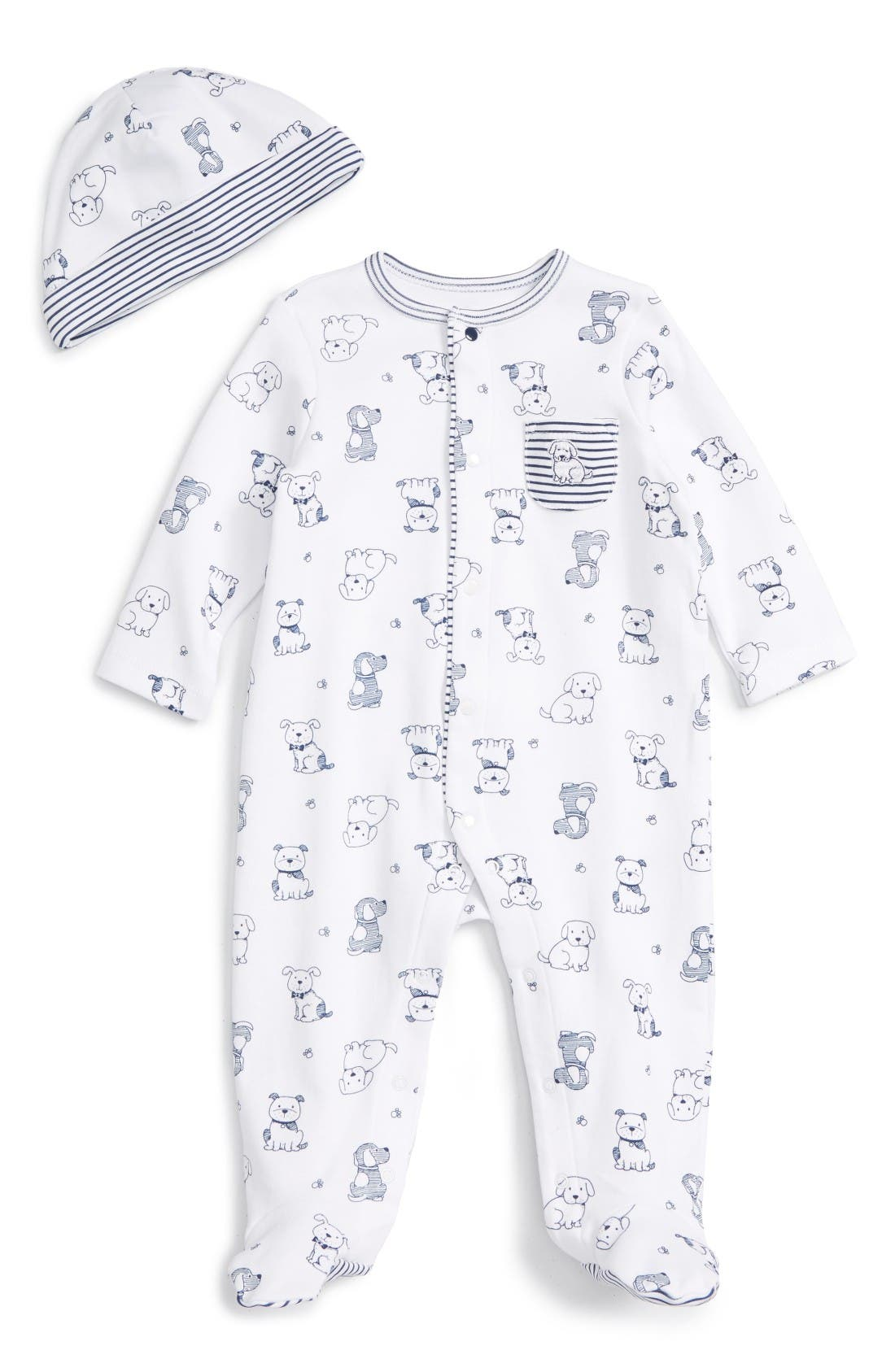 Puppy Toile Footie & Beanie Set,                         Main,                         color, White/ Navy