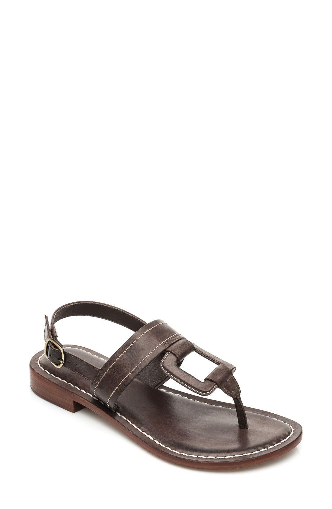 Bernardo Tegan Sandal, Main, color, Chocolate Leather