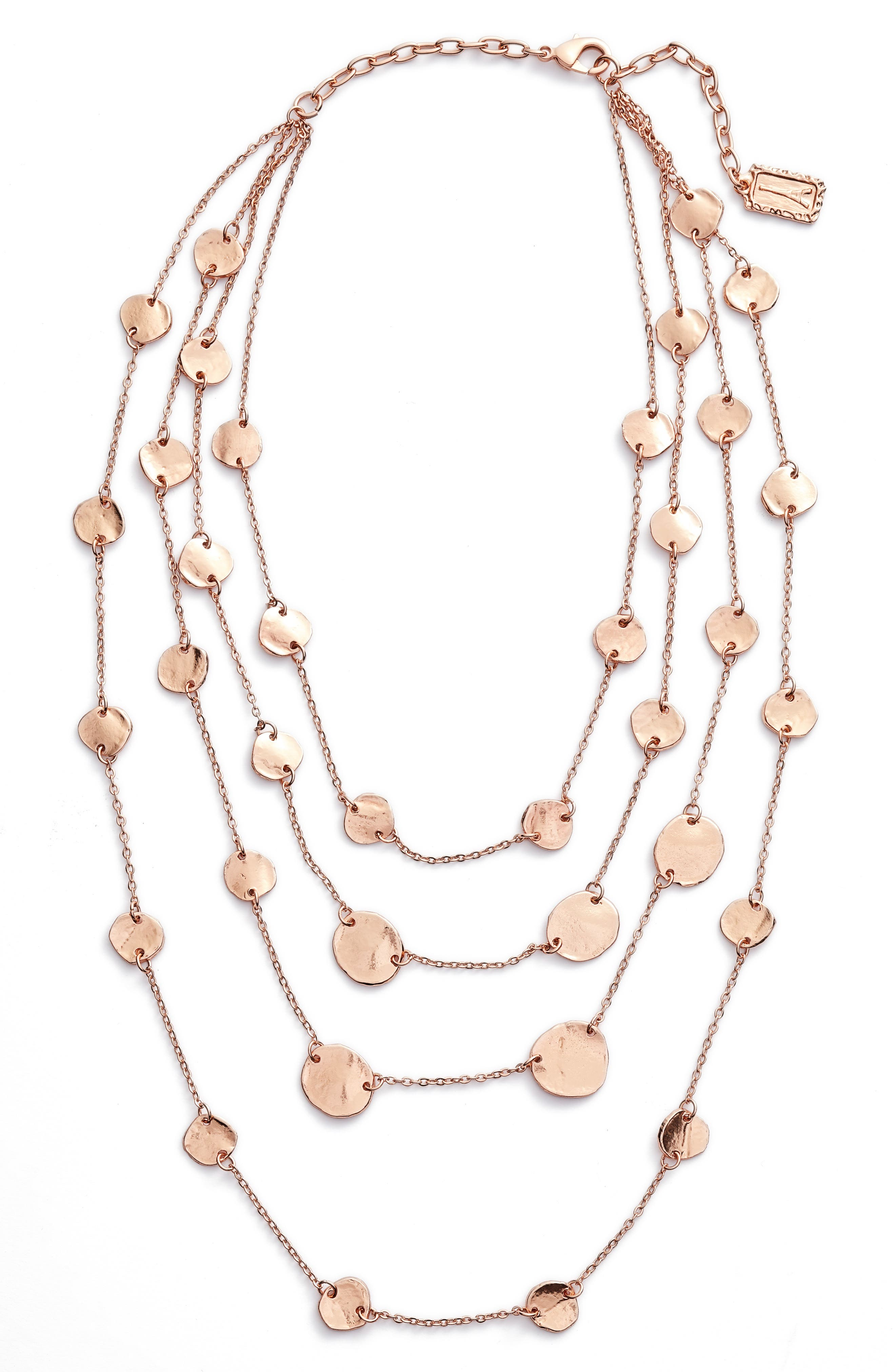 Manon Layered Necklace,                         Main,                         color, Rose Gold