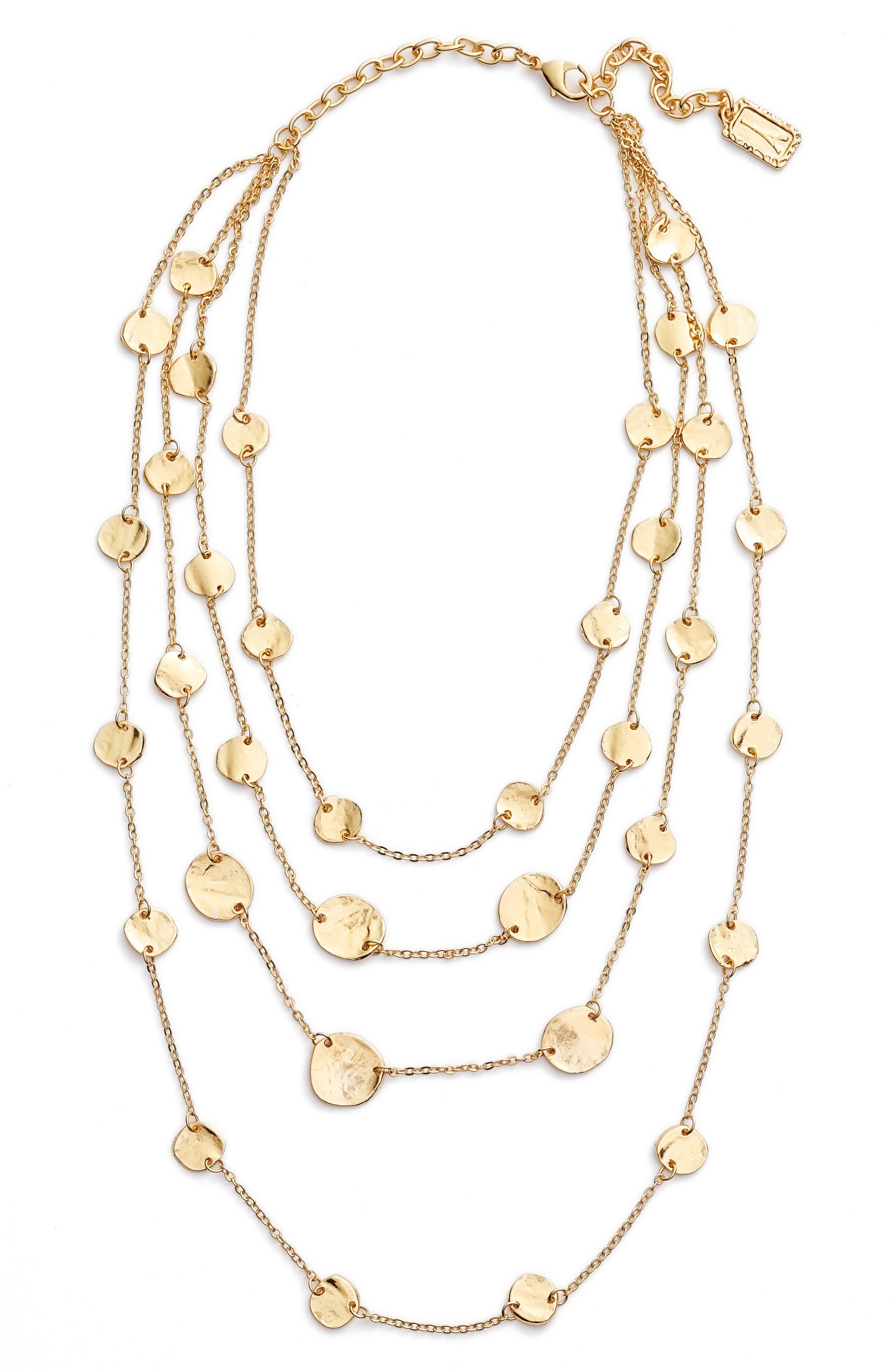 Manon Layered Necklace,                             Main thumbnail 1, color,                             Gold