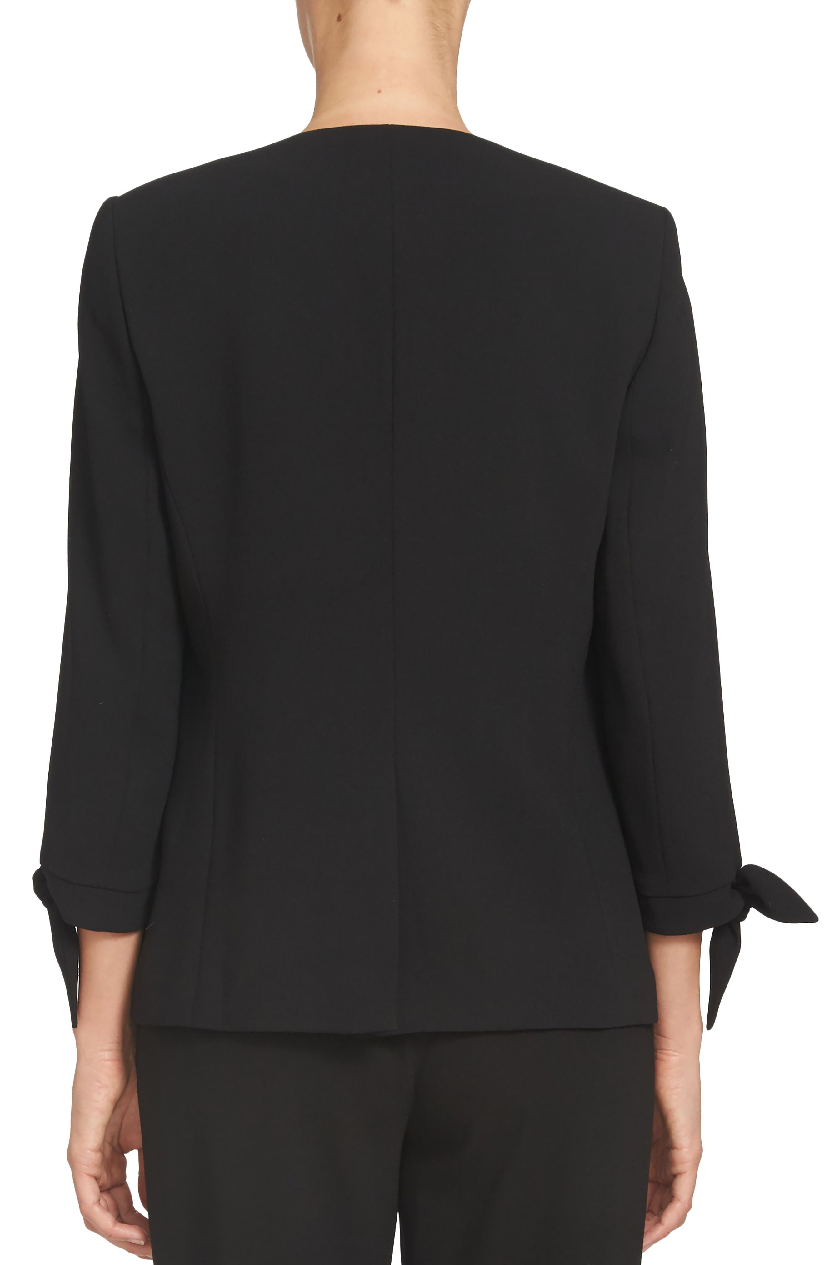 Tie Sleeve Open Front Blazer,                             Alternate thumbnail 2, color,                             Black