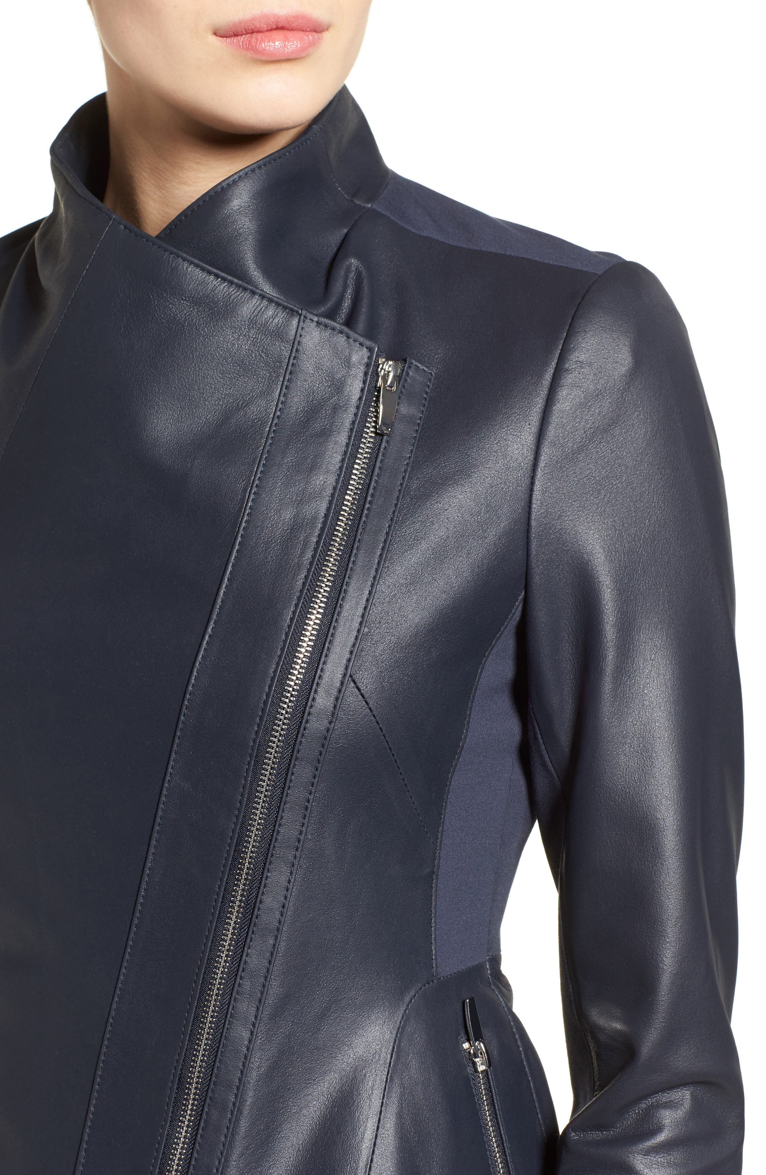Alternate Image 4  - Via Spiga Asymmetrical Zip Leather & Ponte Jacket