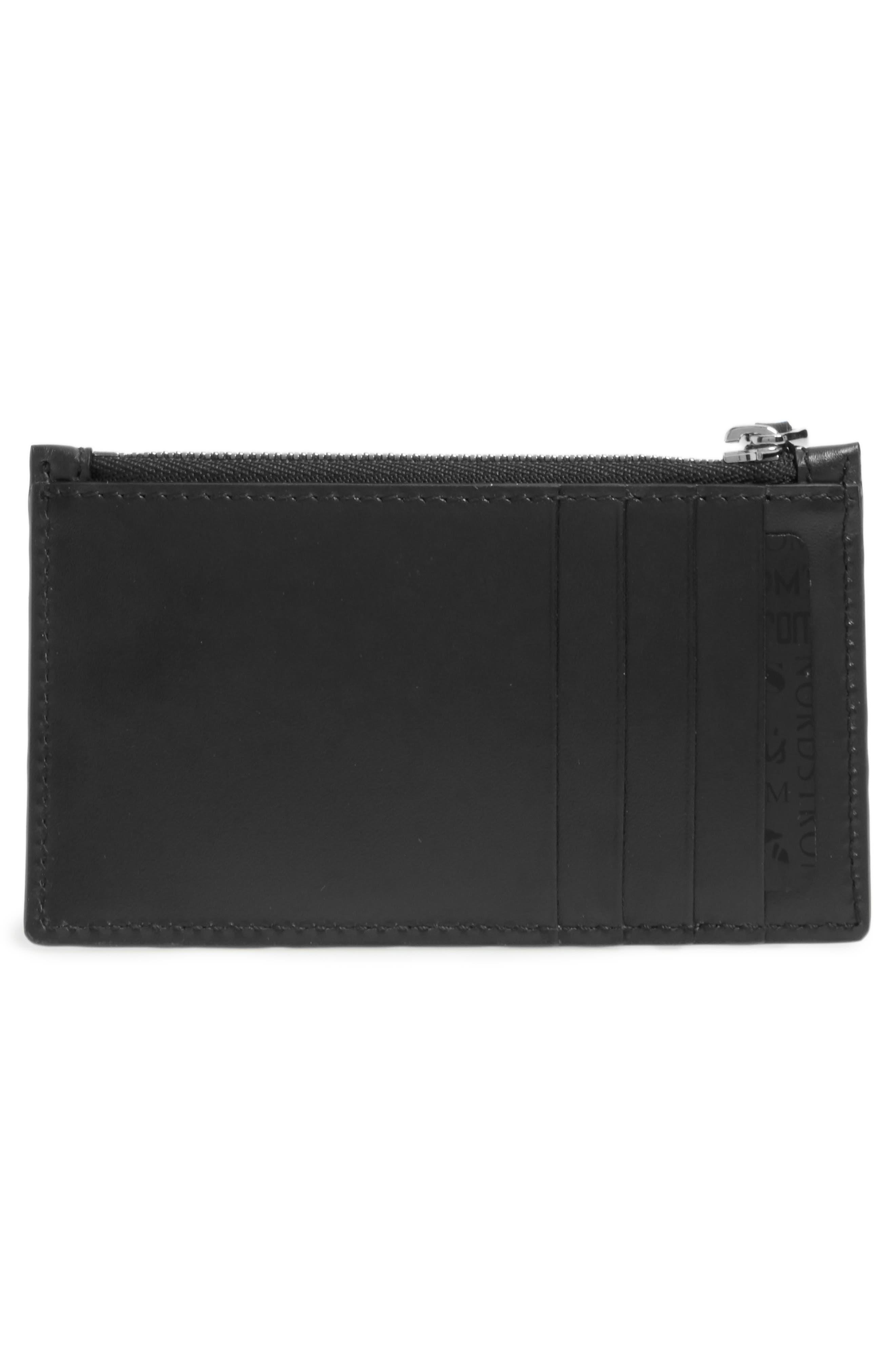 Avel Embossed Leather Card Case,                             Alternate thumbnail 2, color,                             Black