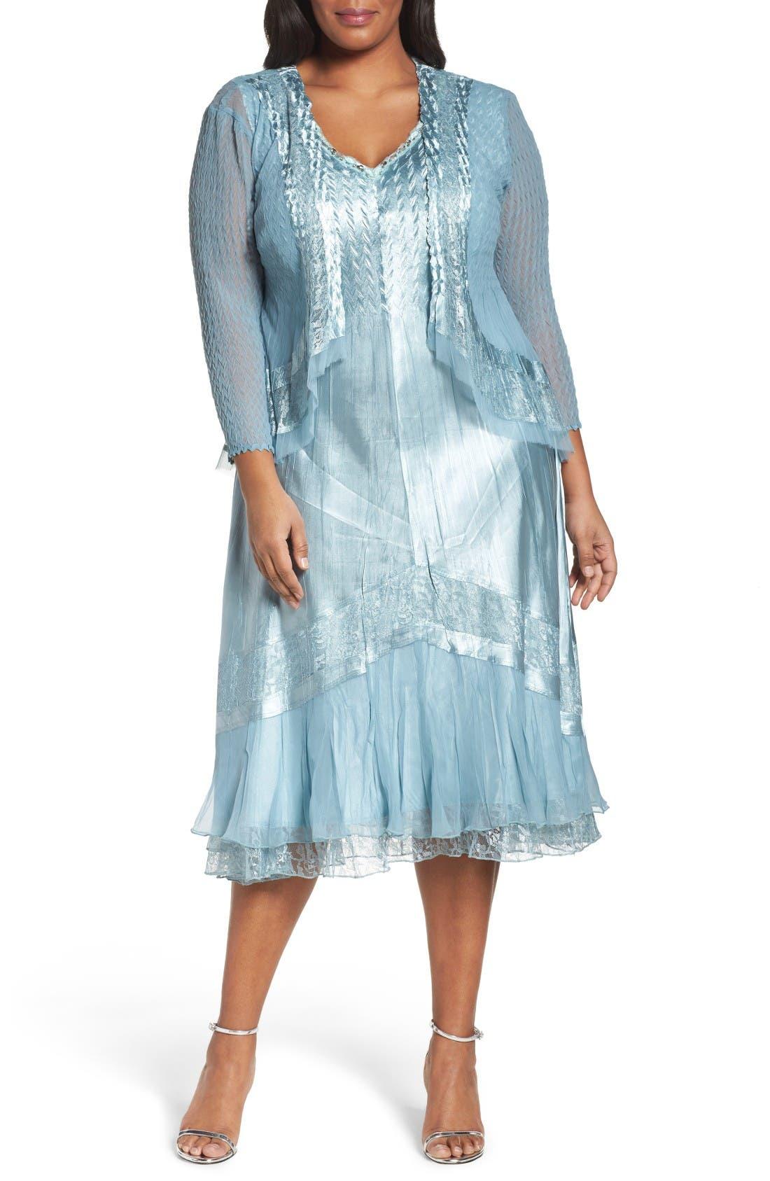 Lace Trim Jacket Dress,                         Main,                         color, Ocean Blue
