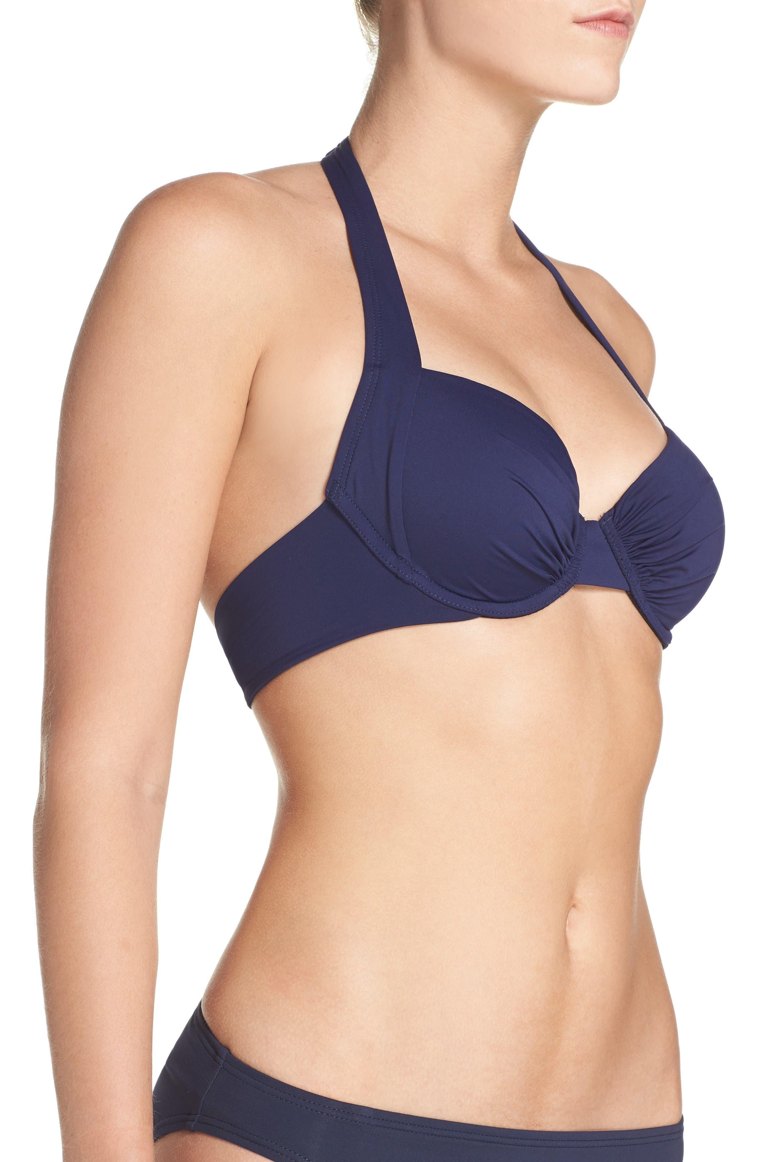 Underwire Halter Bikini Top,                             Alternate thumbnail 3, color,                             Mare Navy