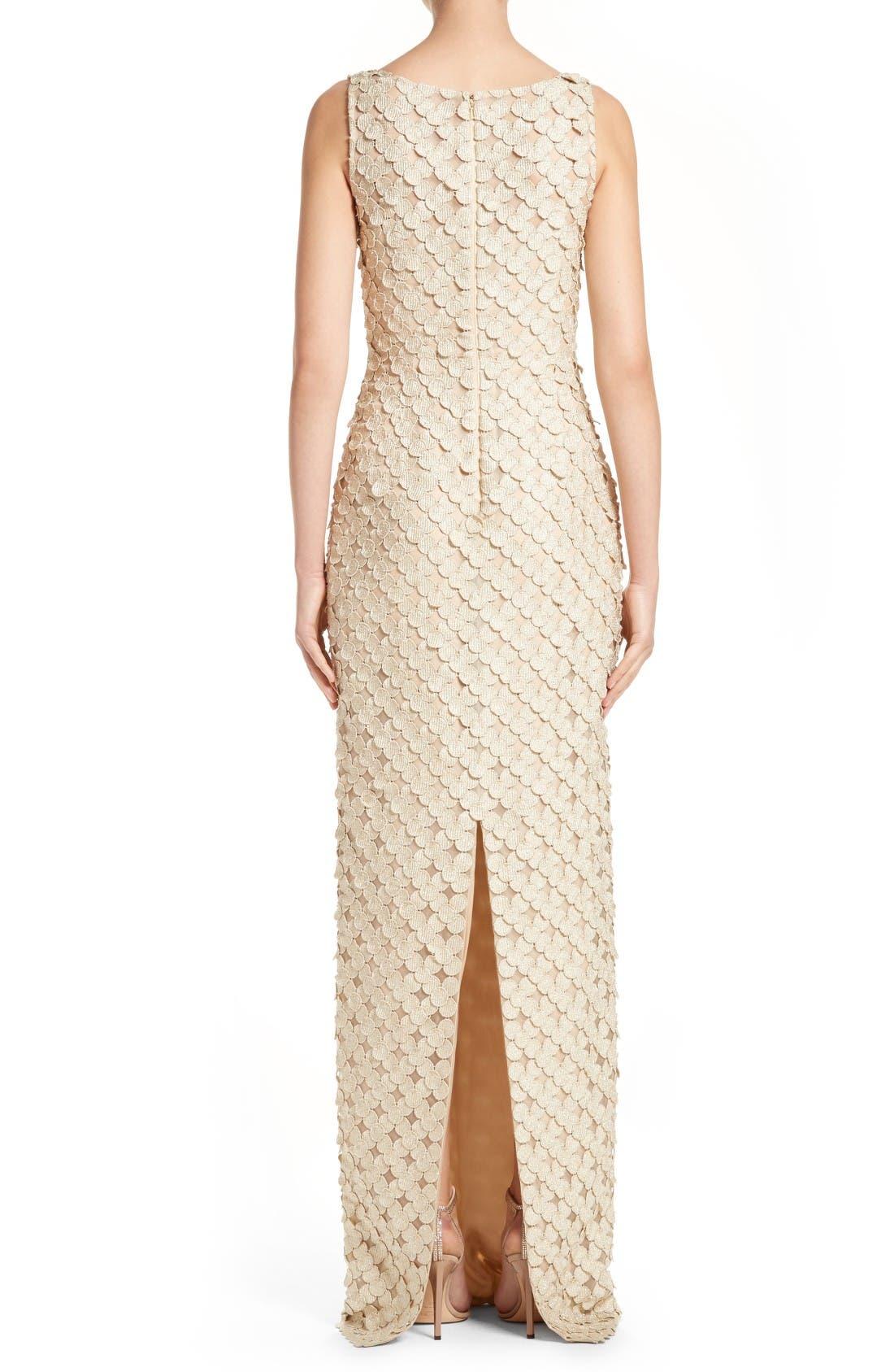 Alternate Image 2  - Carmen Marc Valvo Couture Circle Appliqué Sleeveless Column Gown