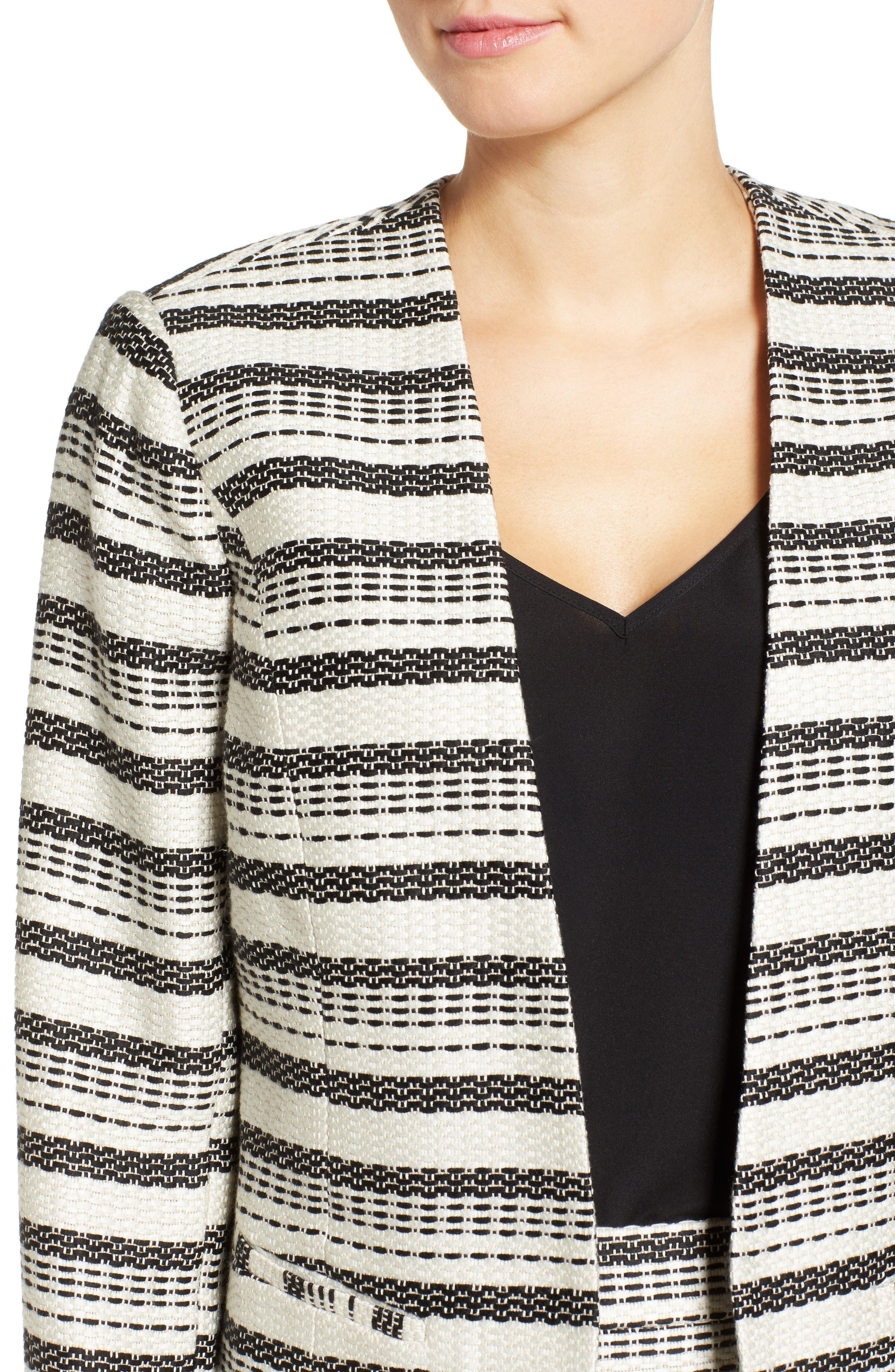 Open Front Jacket,                             Alternate thumbnail 5, color,                             Ivory- Black Tweed