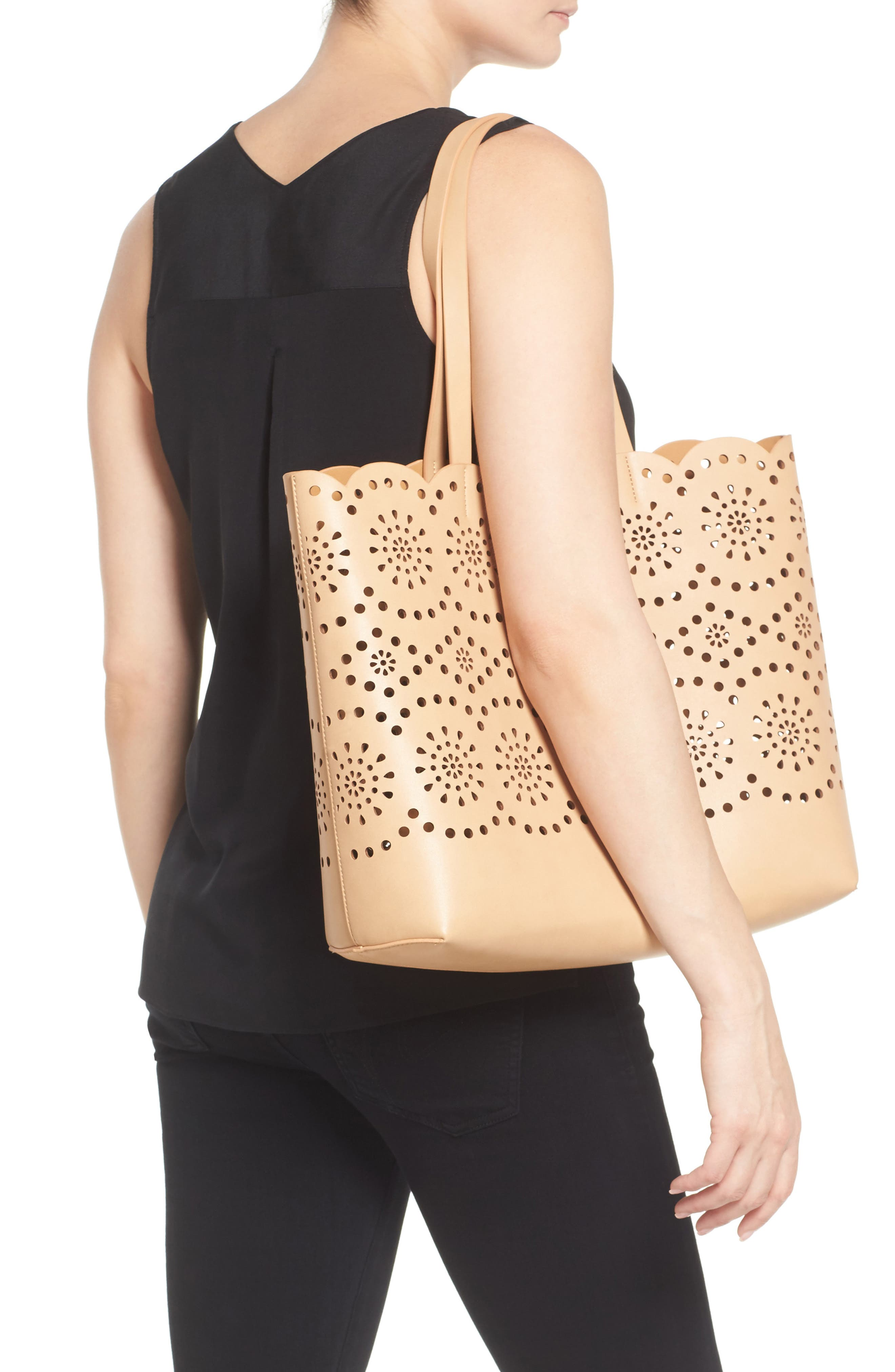 Alternate Image 2  - Chelsea28 Lily Scallop Faux Leather Tote